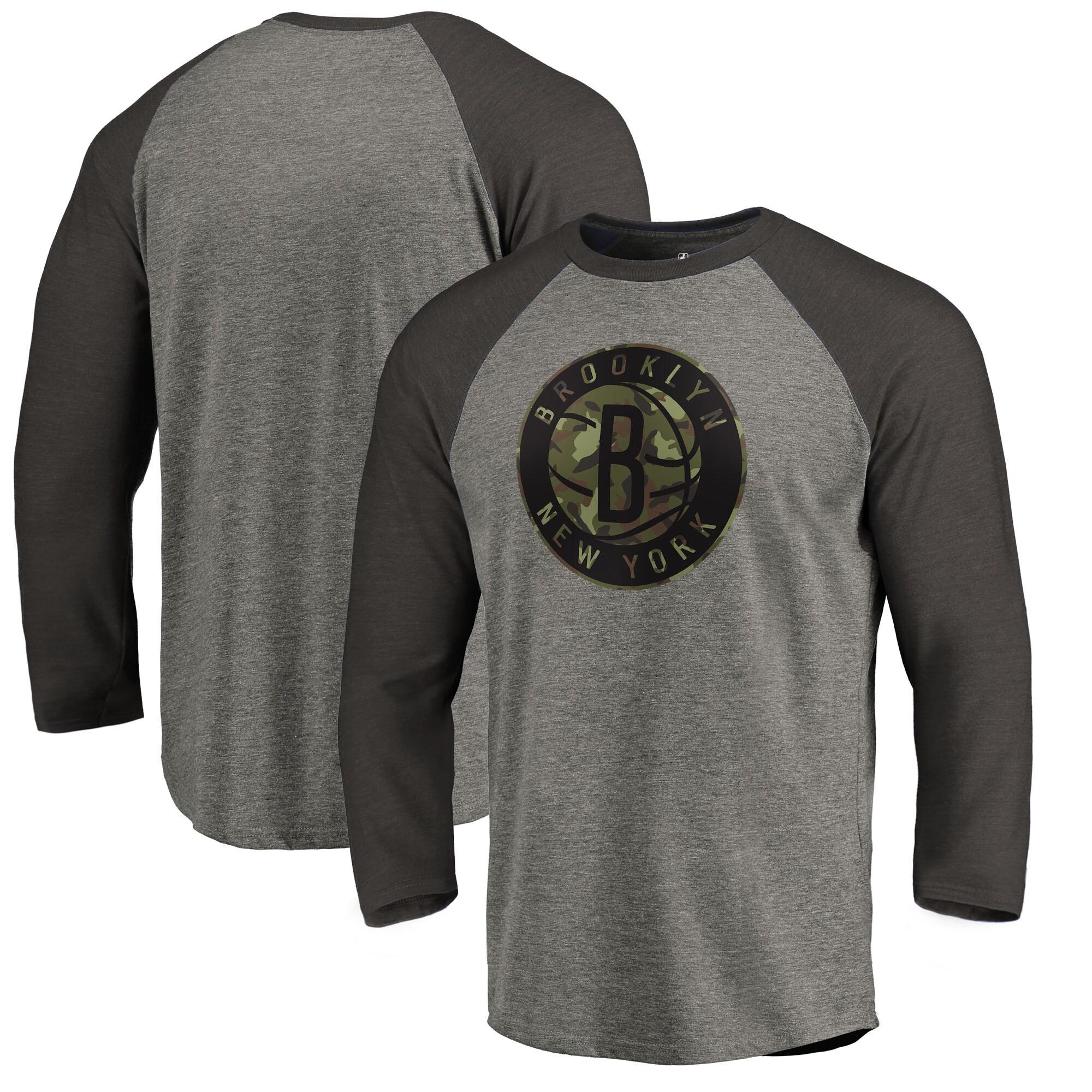 Brooklyn Nets Fanatics Branded Camo Collection Prestige 3/4-Sleeve Raglan T-Shirt - Heathered Gray