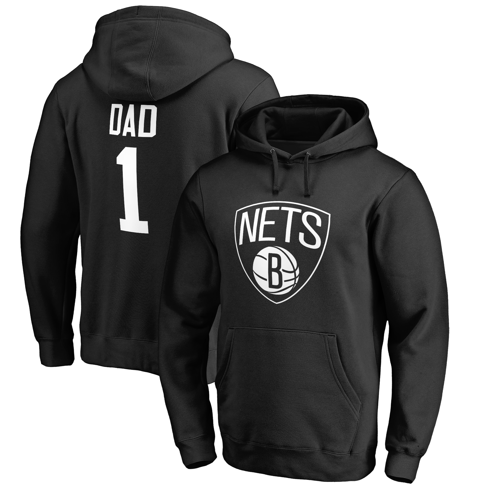 Brooklyn Nets #1 Dad Pullover Hoodie - Black