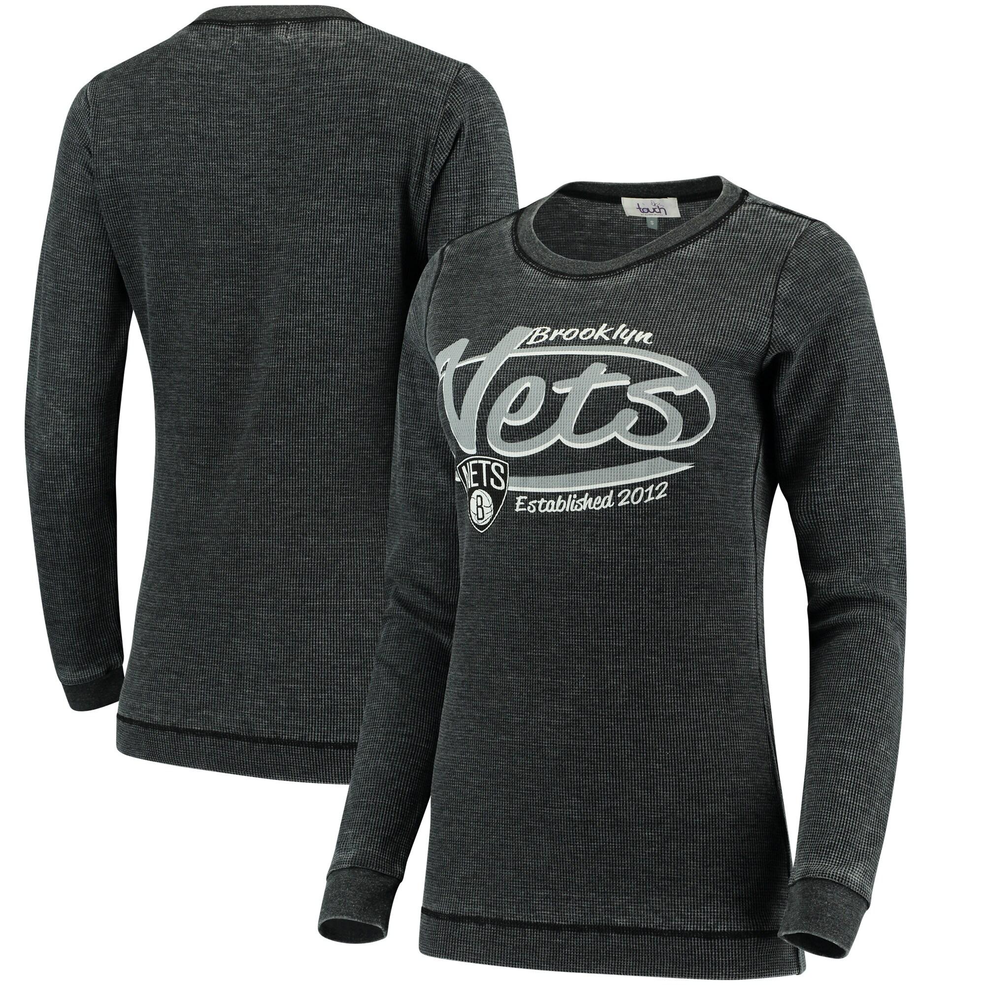 Brooklyn Nets G-III Sports by Carl Banks Women's Blitz Long Sleeve Thermal Tri-Blend T-Shirt - Black