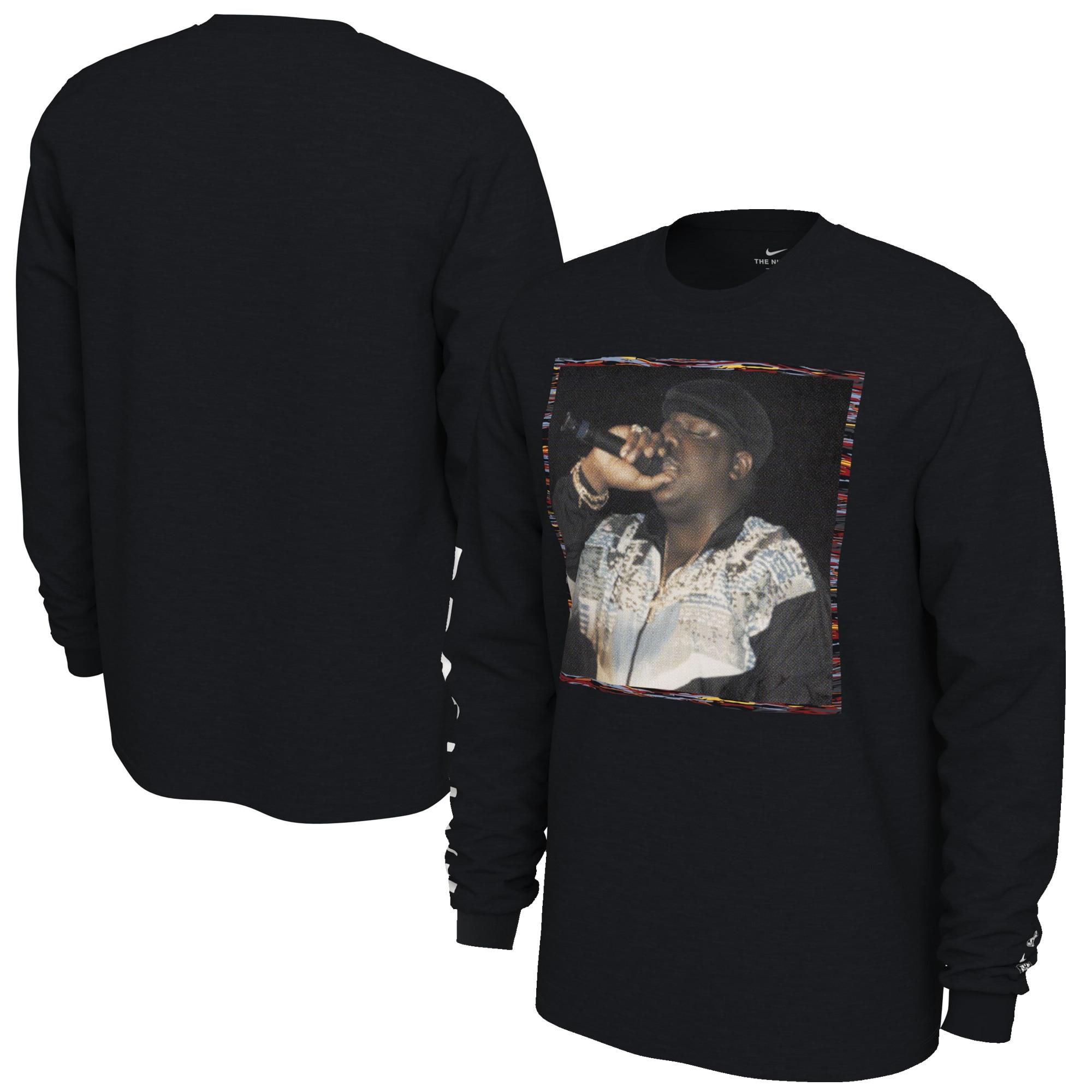 Brooklyn Nets Nike 2019/20 City Edition Biggie Long Sleeve T-Shirt - Black