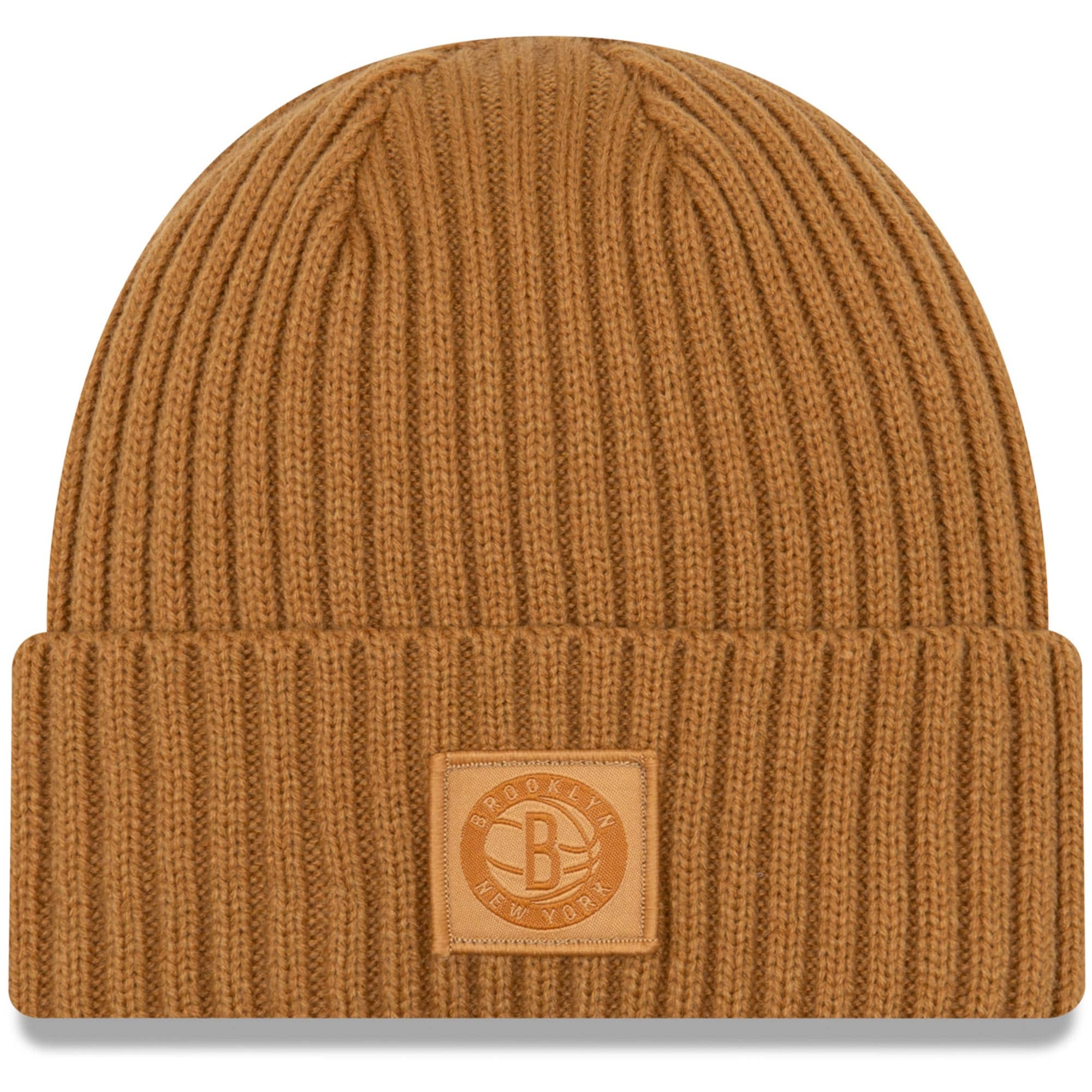 Brooklyn Nets New Era Label Cuffed Knit Hat - Tan