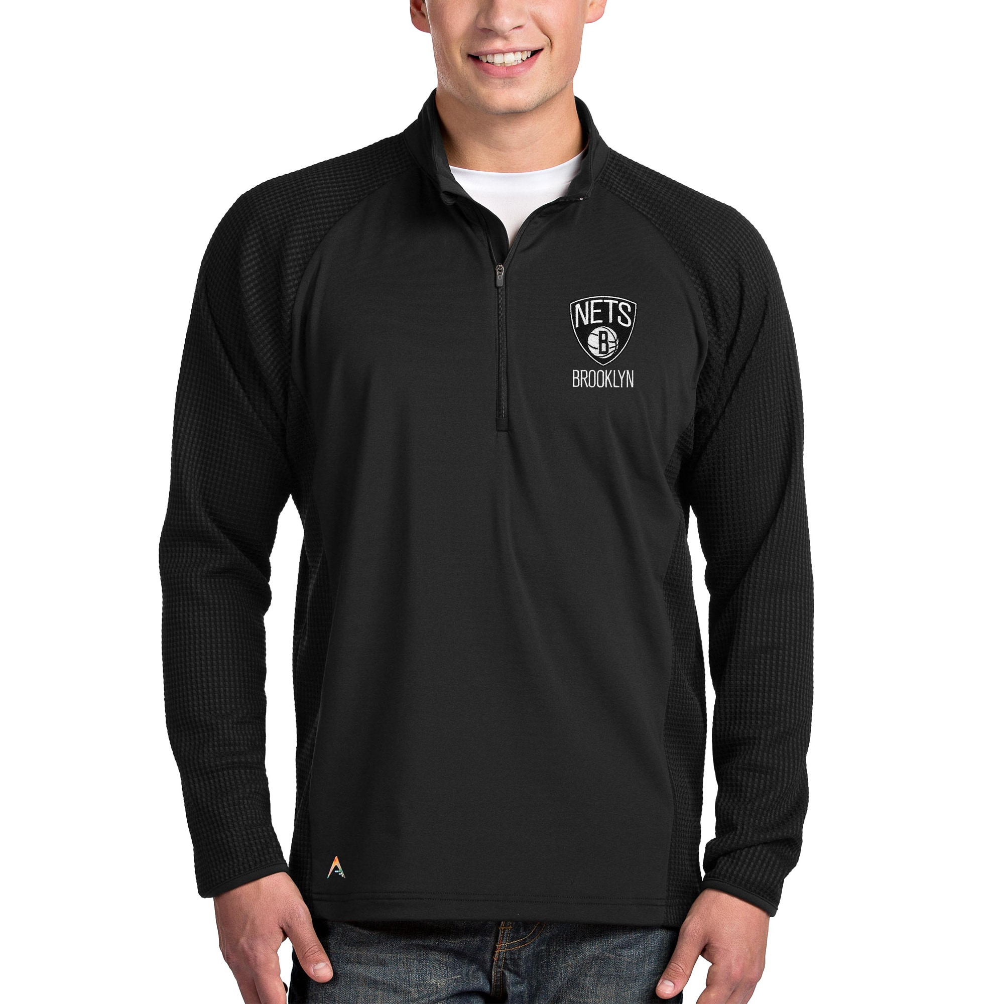 Brooklyn Nets Antigua Sonar Quarter-Zip Pullover Jacket - Black
