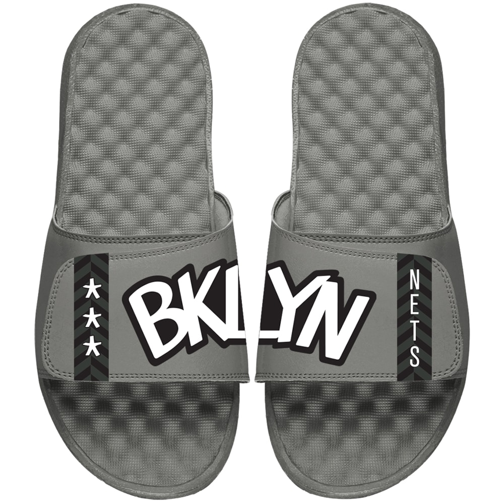 Brooklyn Nets ISlide Youth Statement Jersey Slide Sandals - Gray
