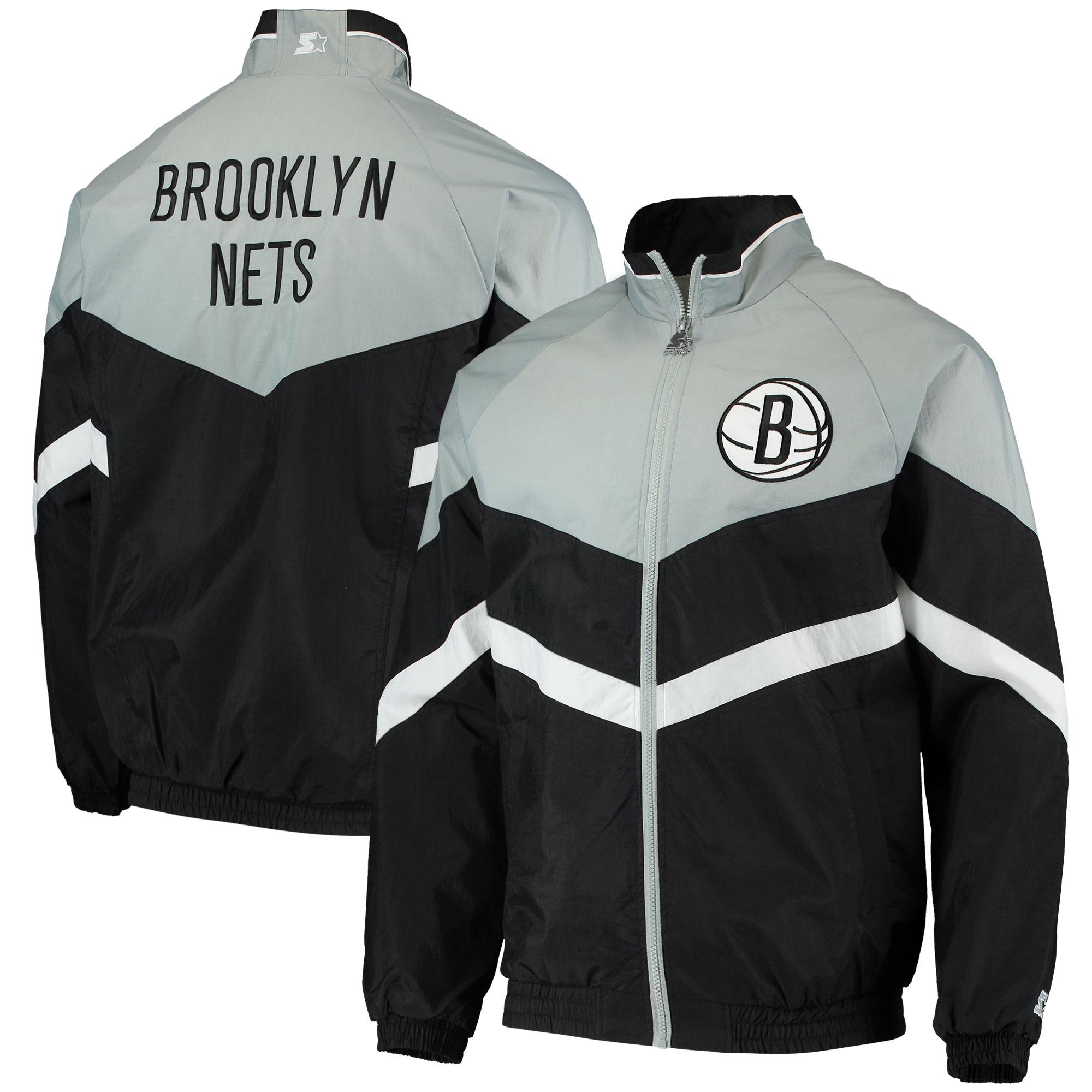 Brooklyn Nets Starter Bank Shot Oxford Full-Zip Jacket - Black/Gray