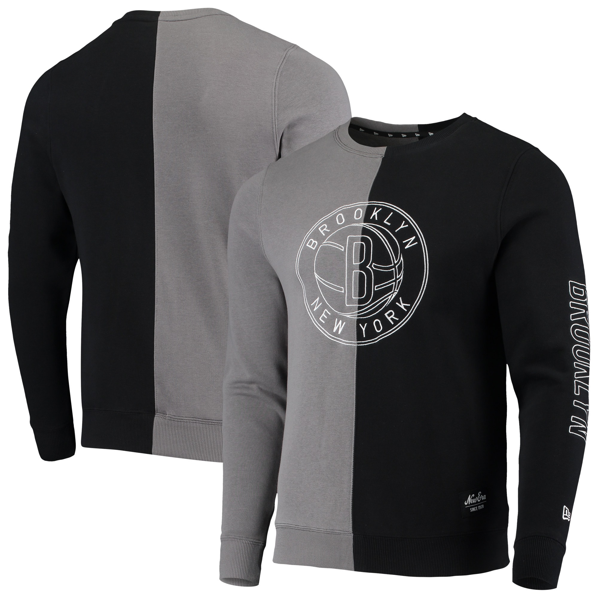 Brooklyn Nets New Era Diagonal French Terry Color Block Pullover Sweatshirt - Gray/Black