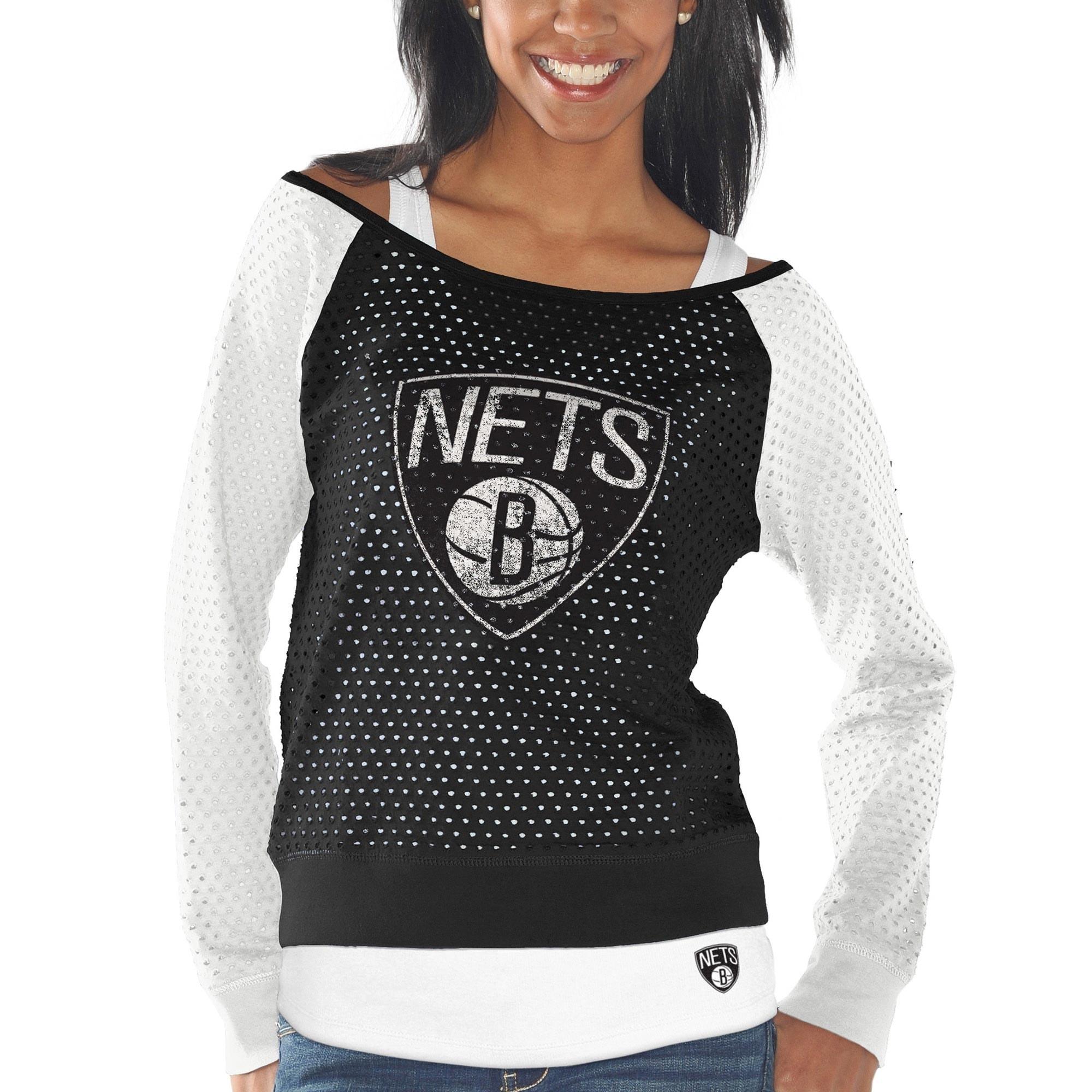 Brooklyn Nets Women's Holy Raglan Long Sleeve Top and Tank Top Set - Black