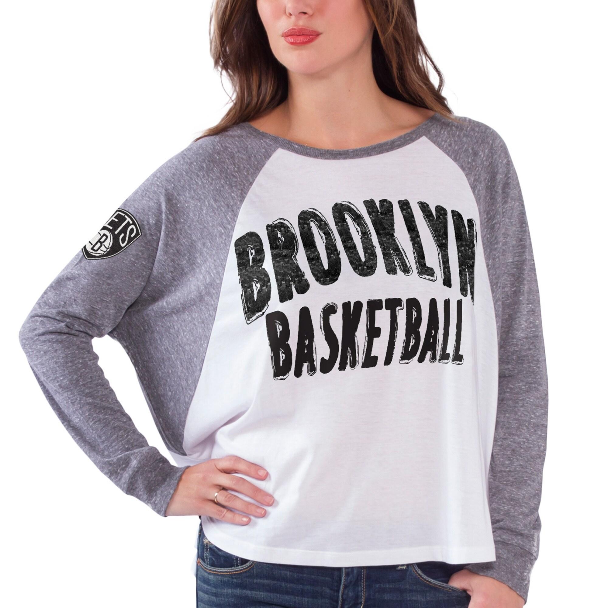 Brooklyn Nets Women's Triple A Long Sleeve T-Shirt - White/Gray