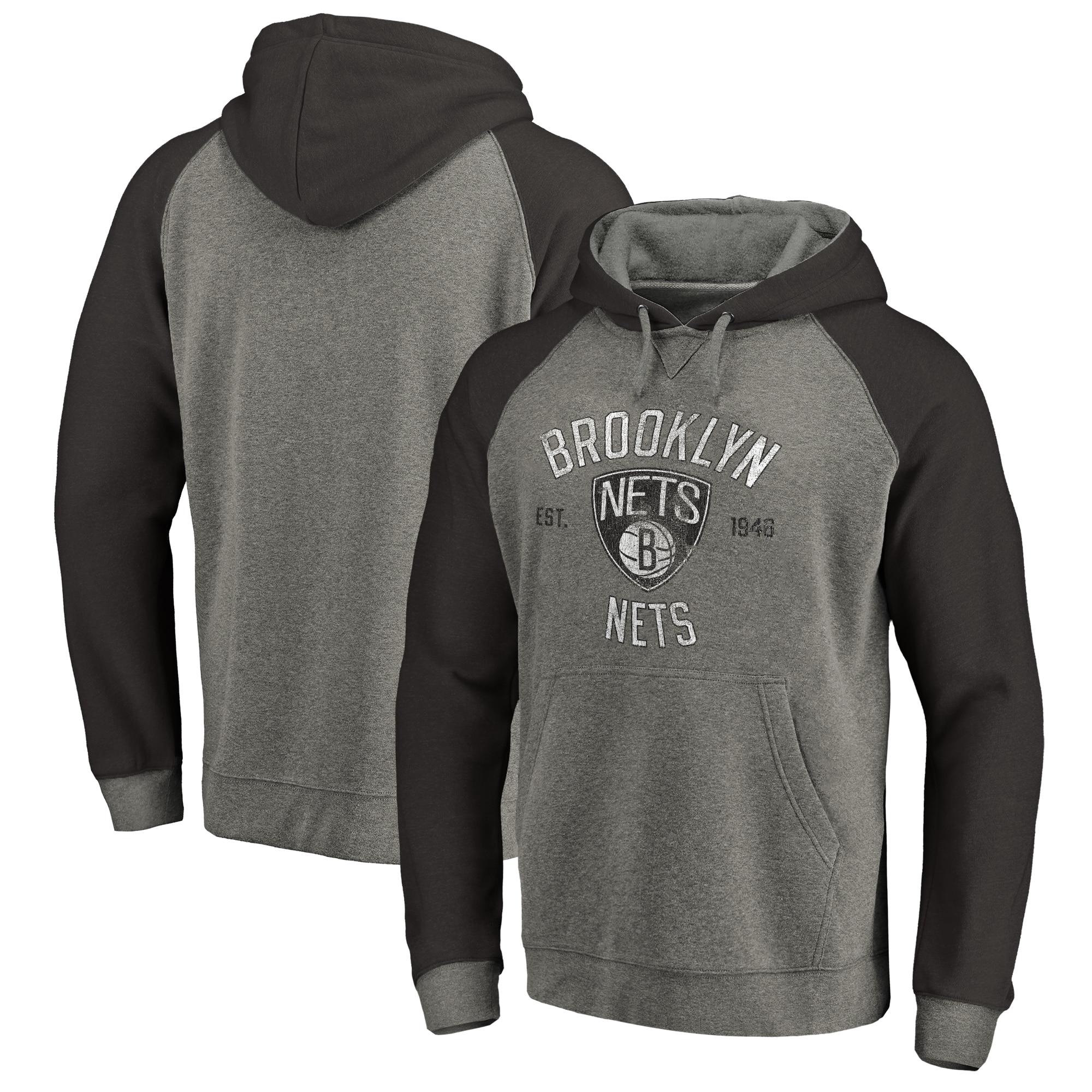 Brooklyn Nets Fanatics Branded Heritage Tri-Blend Raglan Pullover Hoodie - Heathered Gray