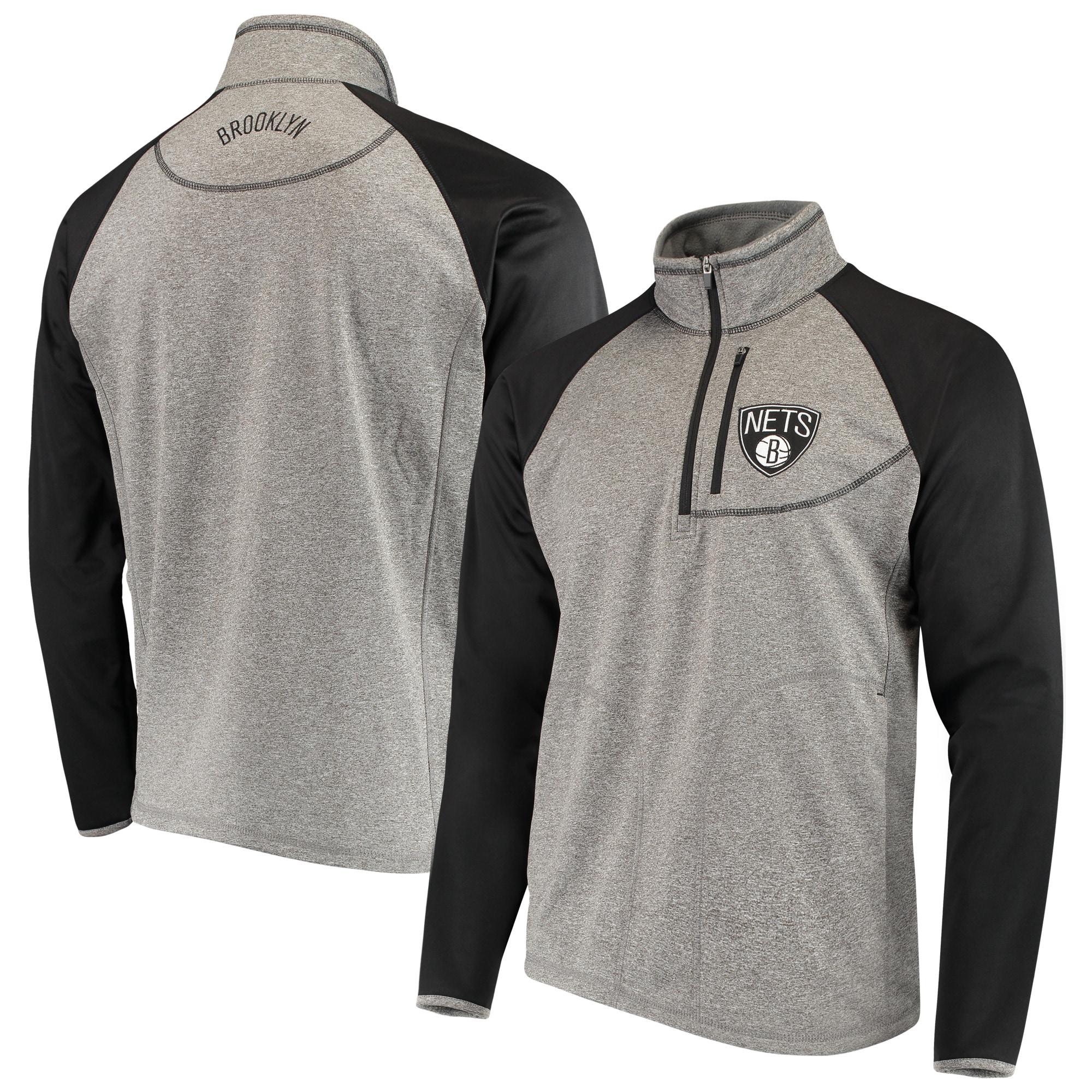 Brooklyn Nets G-III Sports by Carl Banks Mountain Trail Half-Zip Pullover Jacket - Gray/Black
