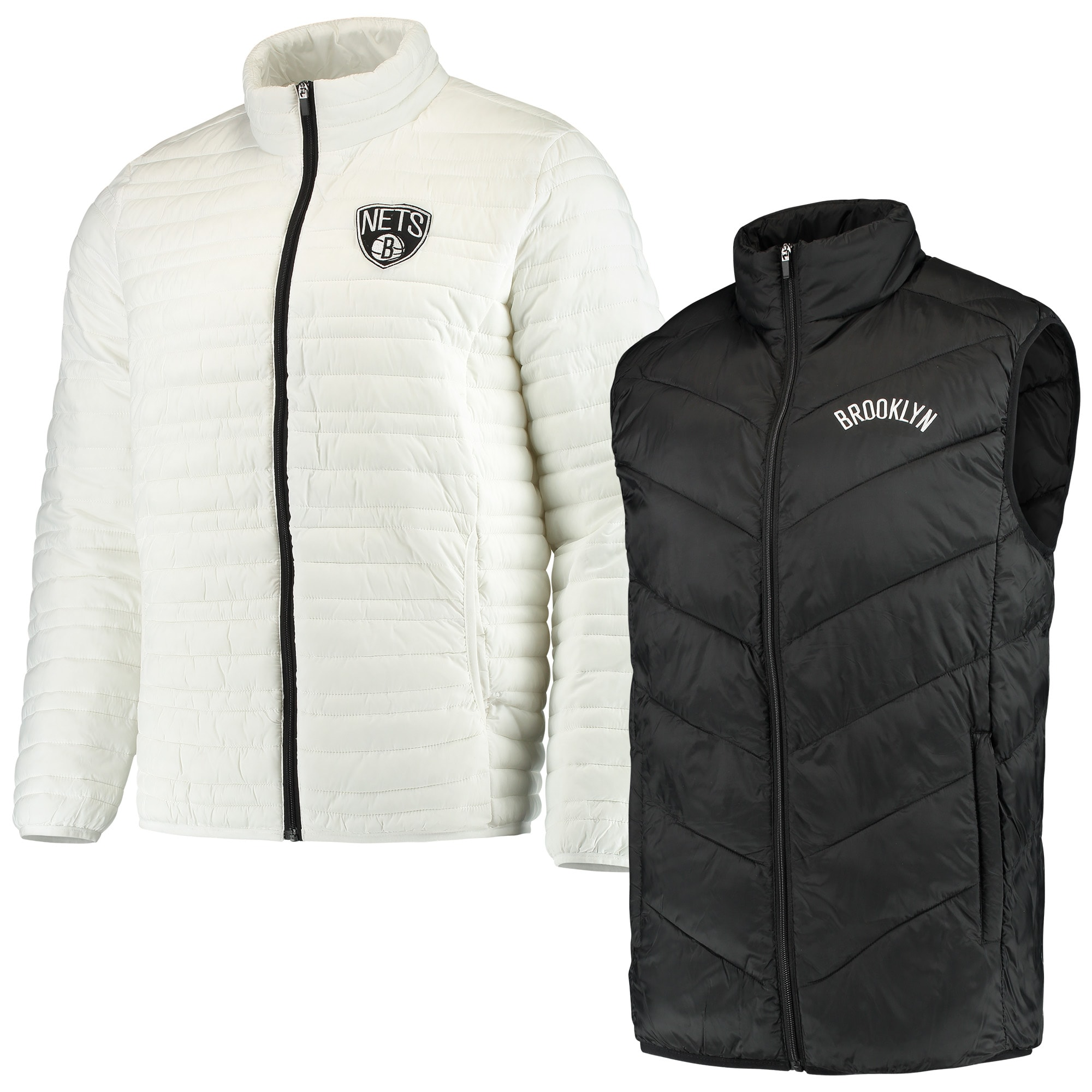 Brooklyn Nets G-III Sports by Carl Banks Three & Out 3-in-1 System Full-Zip Vest & Jacket Set - Black/White