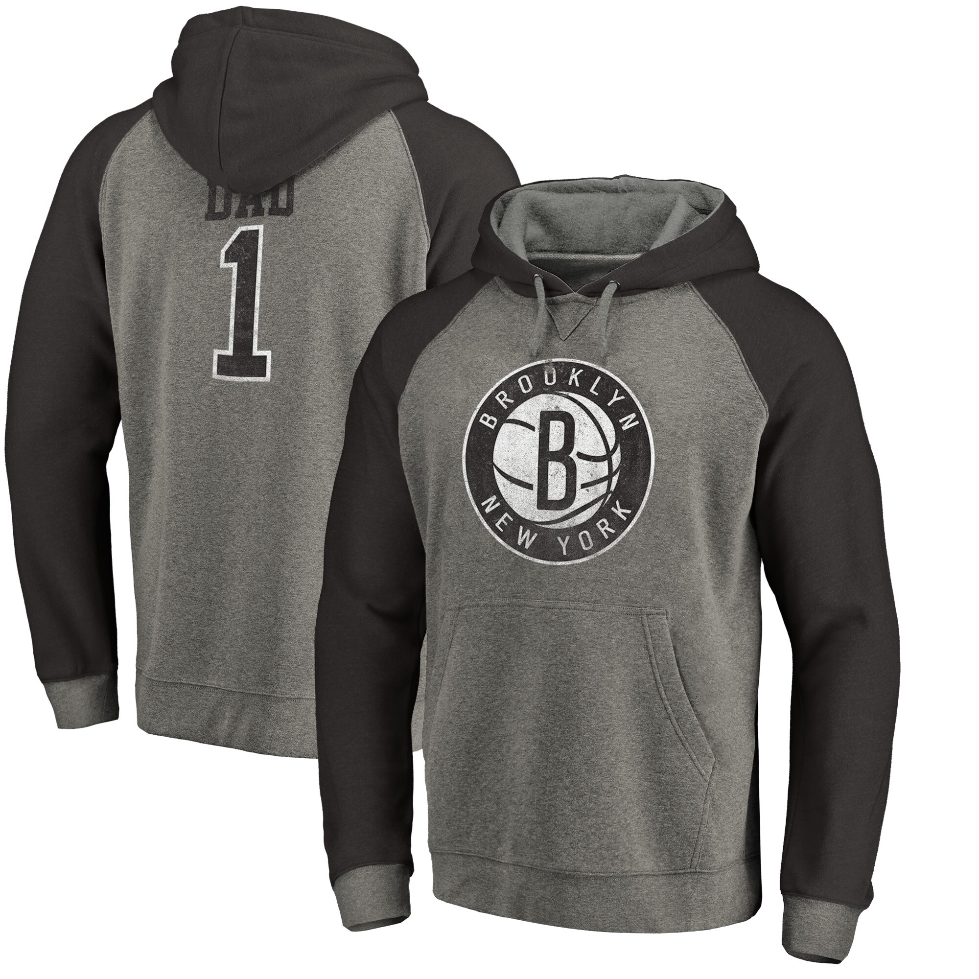 Brooklyn Nets Fanatics Branded Greatest Dad Long Sleeve Tri-Blend Raglan Hoodie - Heathered Gray