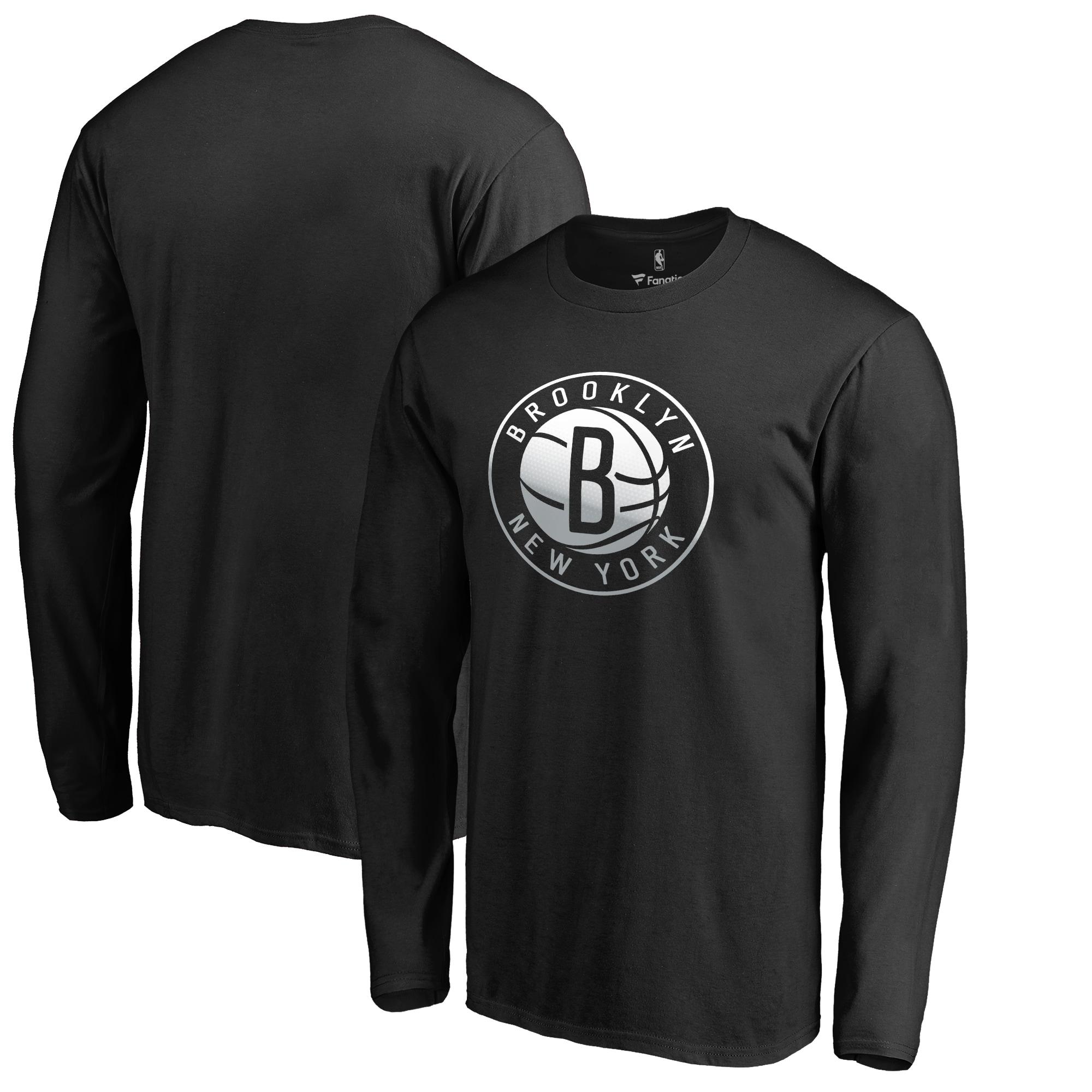 Brooklyn Nets Fanatics Branded Big & Tall Gradient Logo Long Sleeve T-Shirt - Black