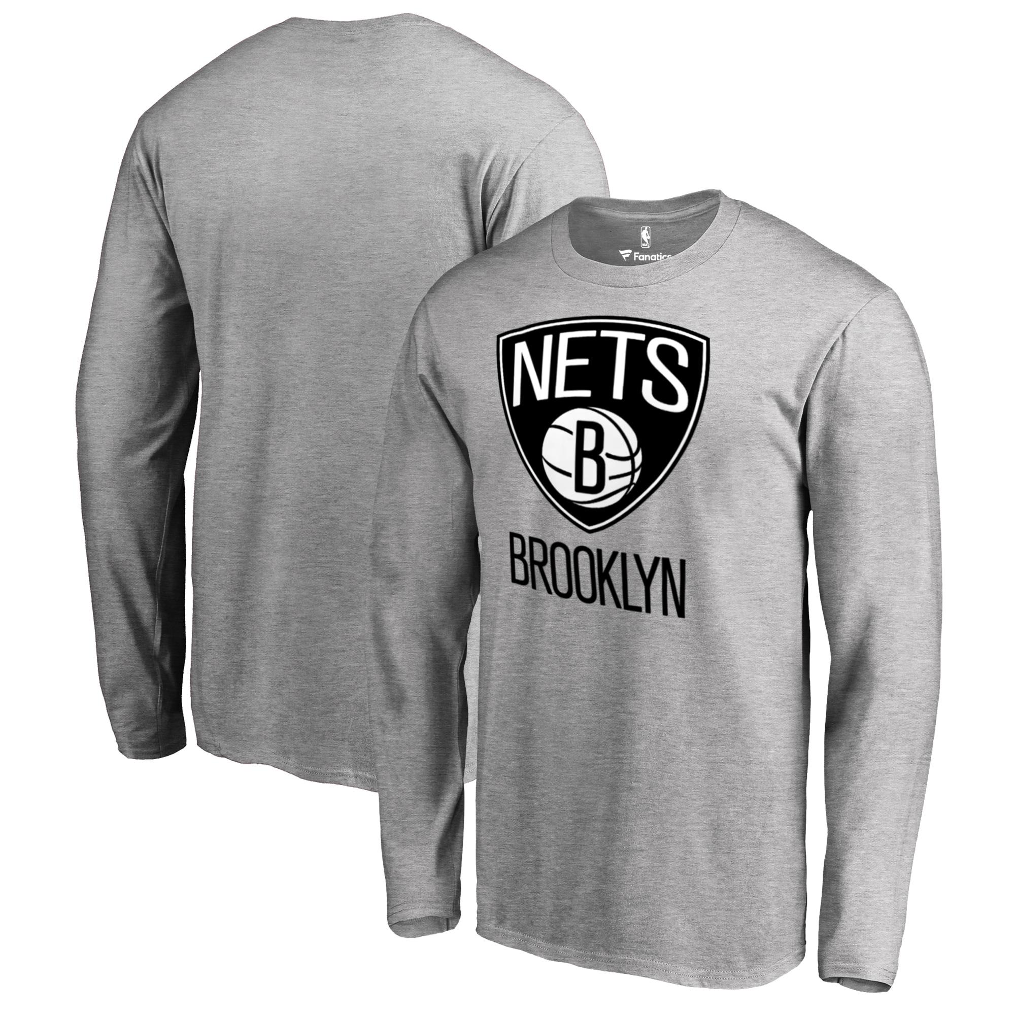 Brooklyn Nets Fanatics Branded Big & Tall Primary Logo Long Sleeve T-Shirt - Ash