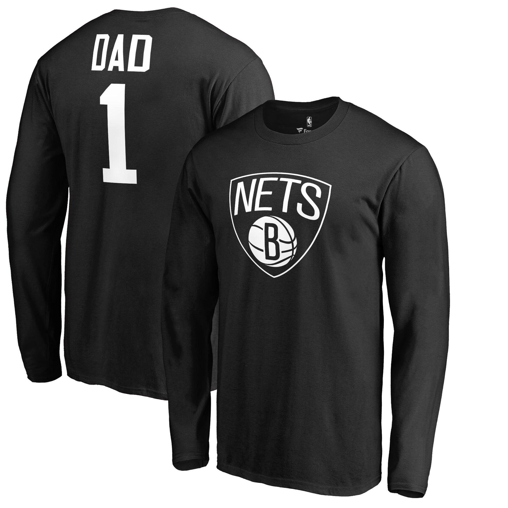 Brooklyn Nets Fanatics Branded Big & Tall #1 Dad Long Sleeve T-Shirt - Black