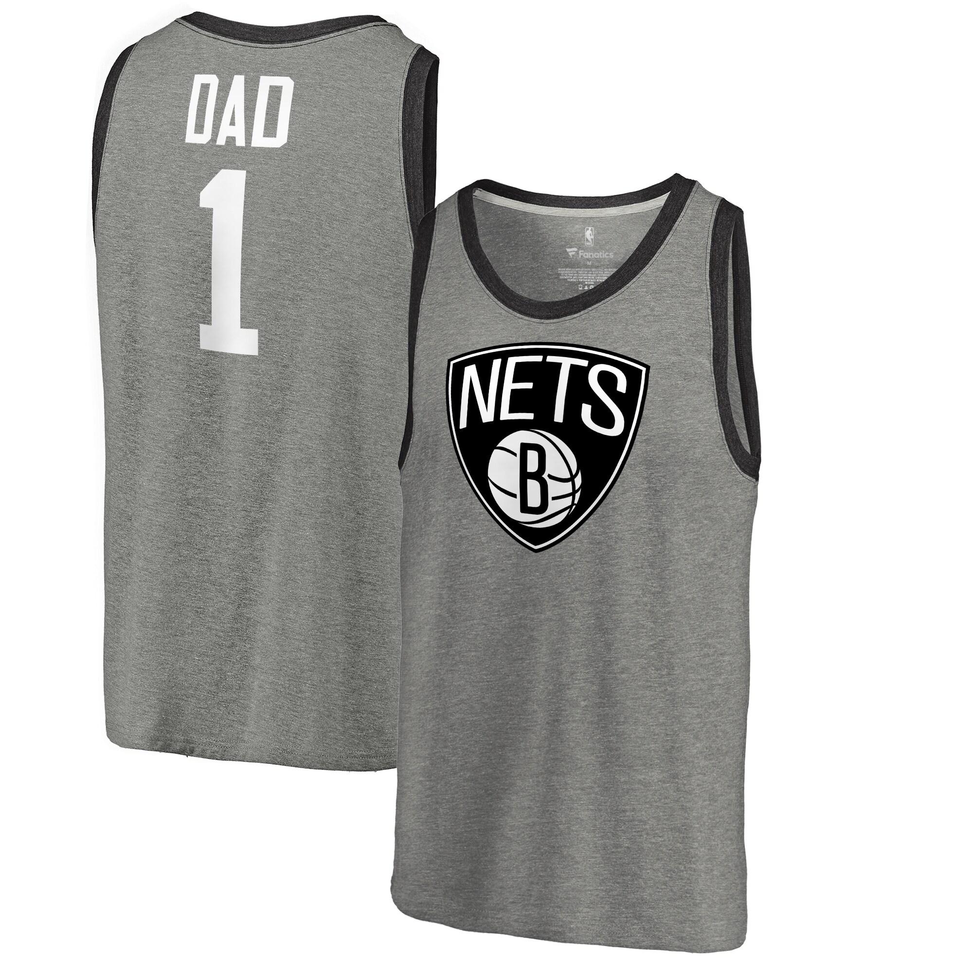 Brooklyn Nets Fanatics Branded #1 Dad Tri-Blend Tank Top - Ash