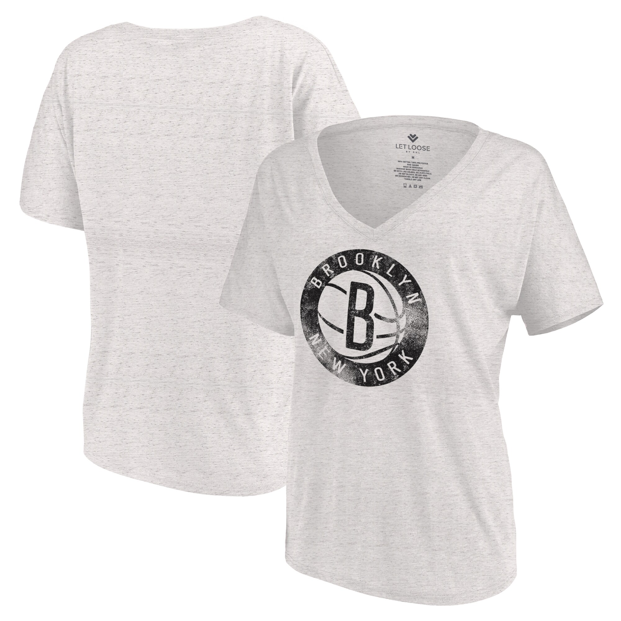 Brooklyn Nets Let Loose by RNL Women's Distressed Primary Logo V-Neck T-Shirt - White Marble