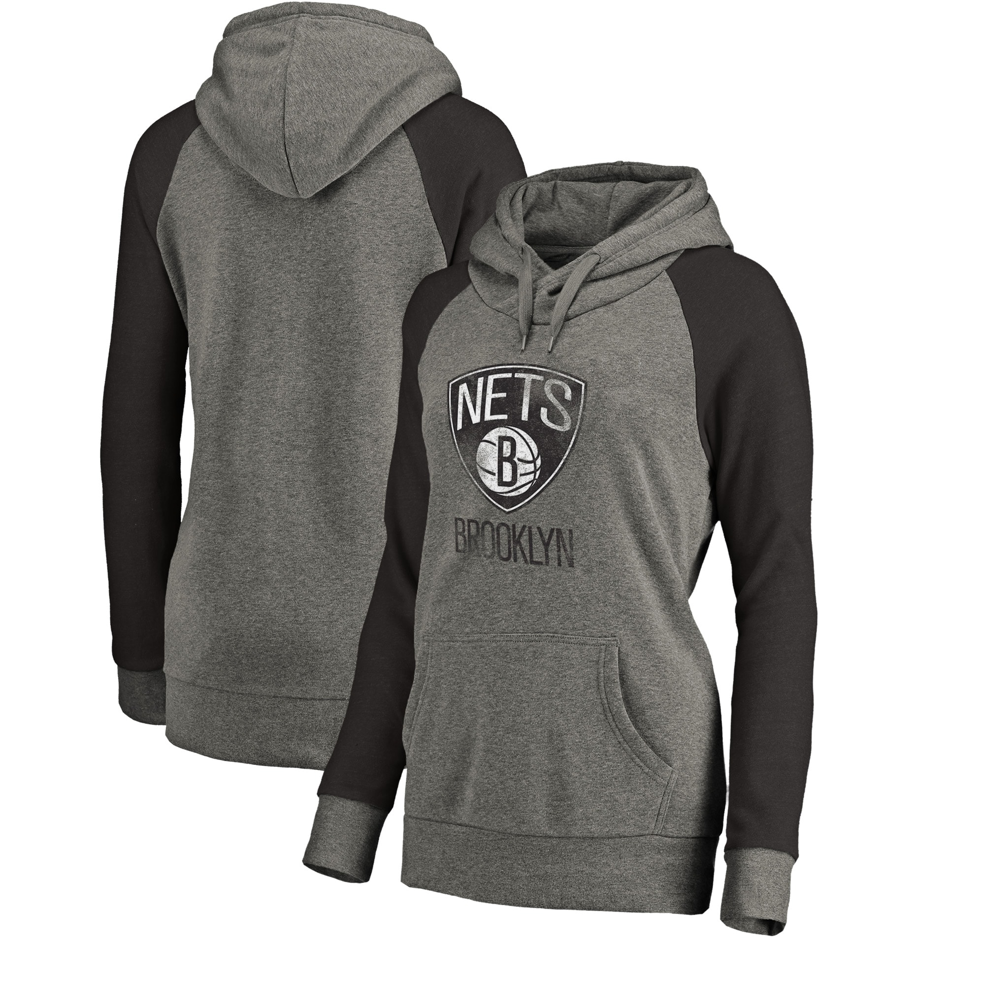 Brooklyn Nets Fanatics Branded Women's Distressed Logo Tri-Blend Pullover Hoodie - Ash/Black