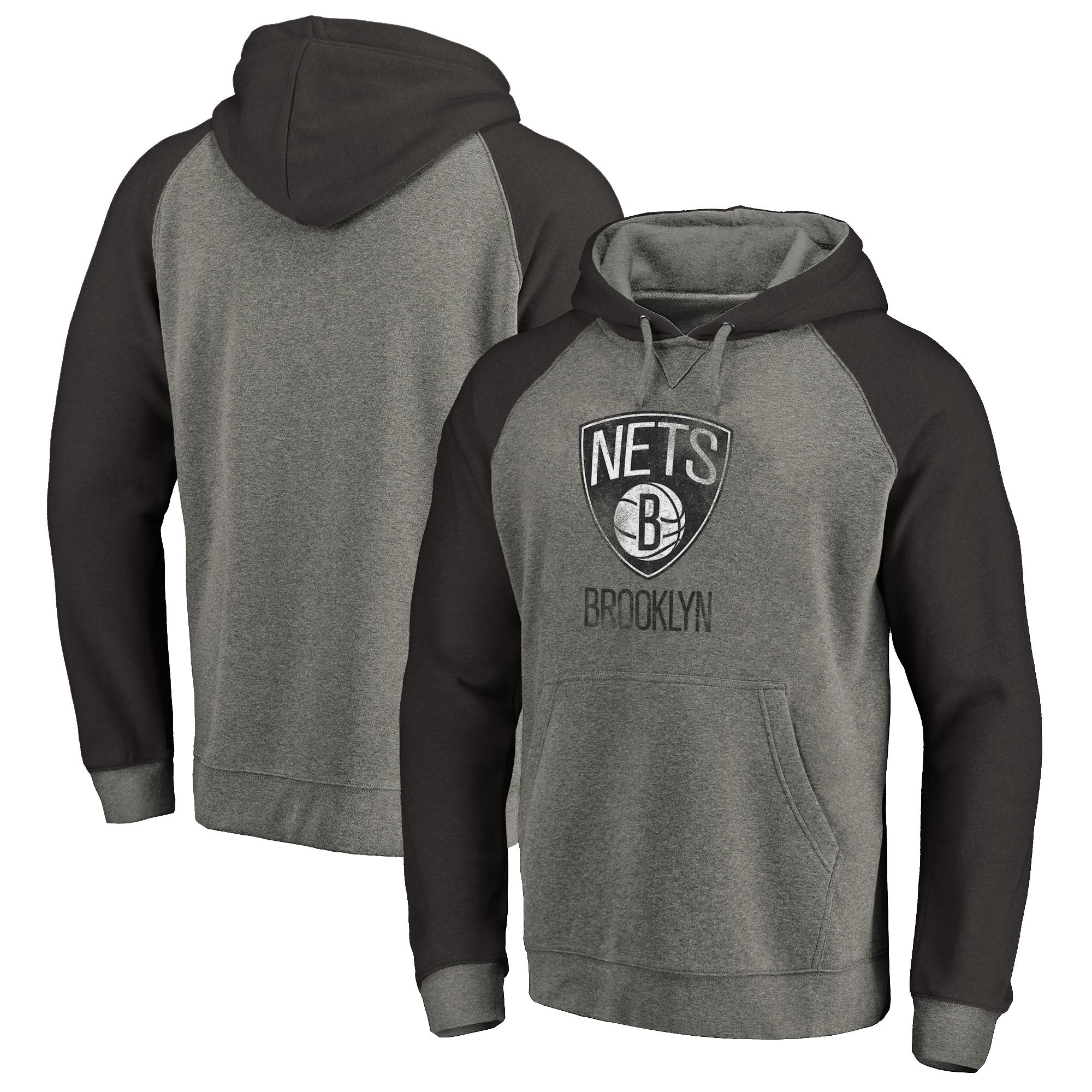 Brooklyn Nets Fanatics Branded Distressed Logo Tri-Blend Pullover Hoodie - Ash/Black