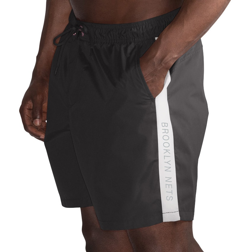 Brooklyn Nets G-III Sports by Carl Banks Volley Swim Trunks - Black/White