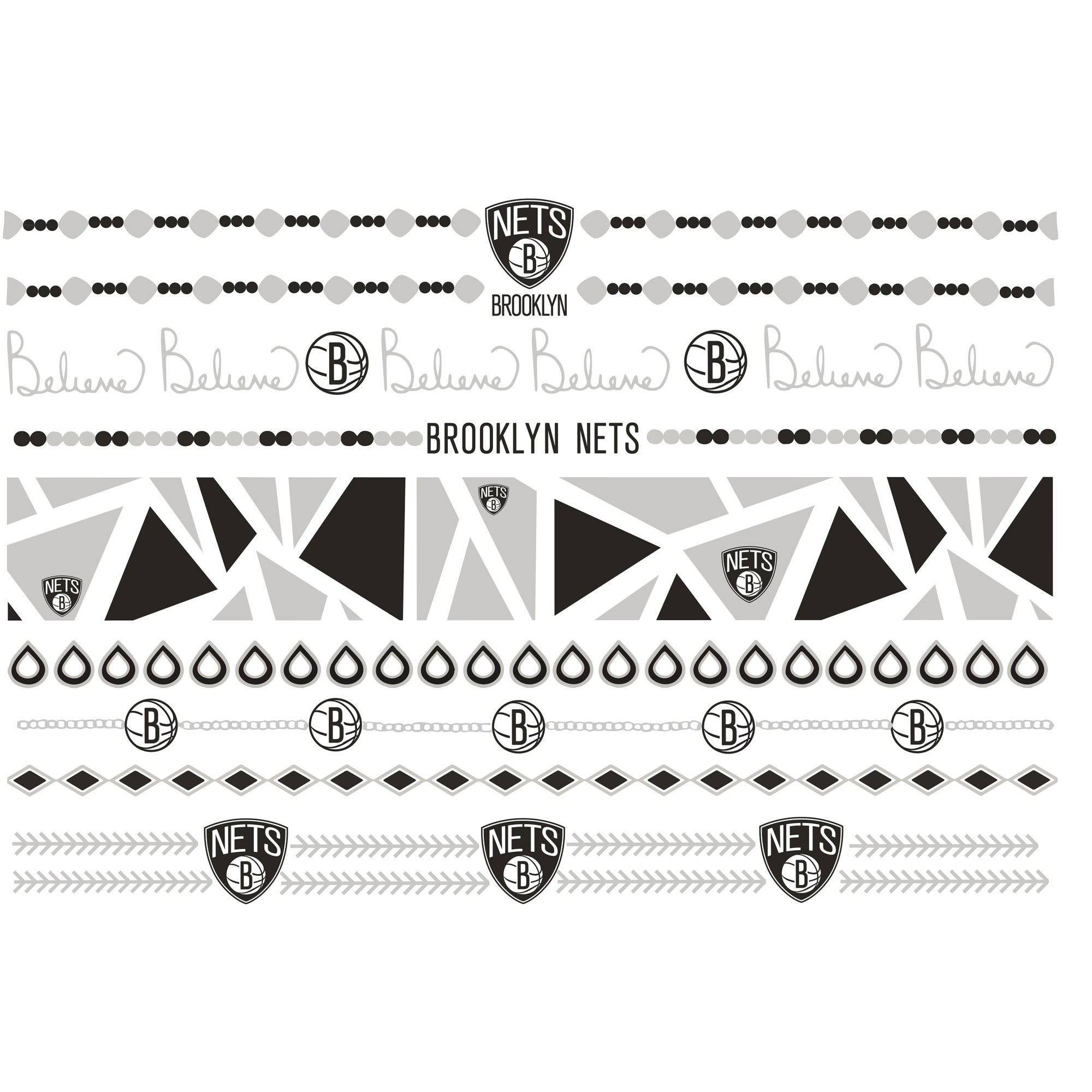 Brooklyn Nets Metallic Fashion Tattoos