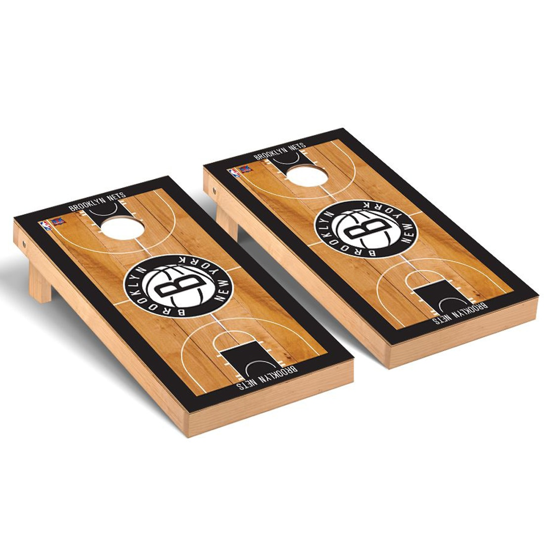 Brooklyn Nets 2' x 4' Court Museum Cornhole Board Tailgate Toss Set