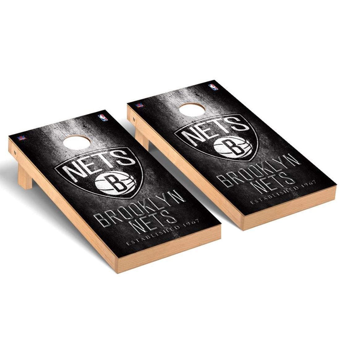 Brooklyn Nets 2' x 4' Metal Museum Cornhole Board Tailgate Toss Set