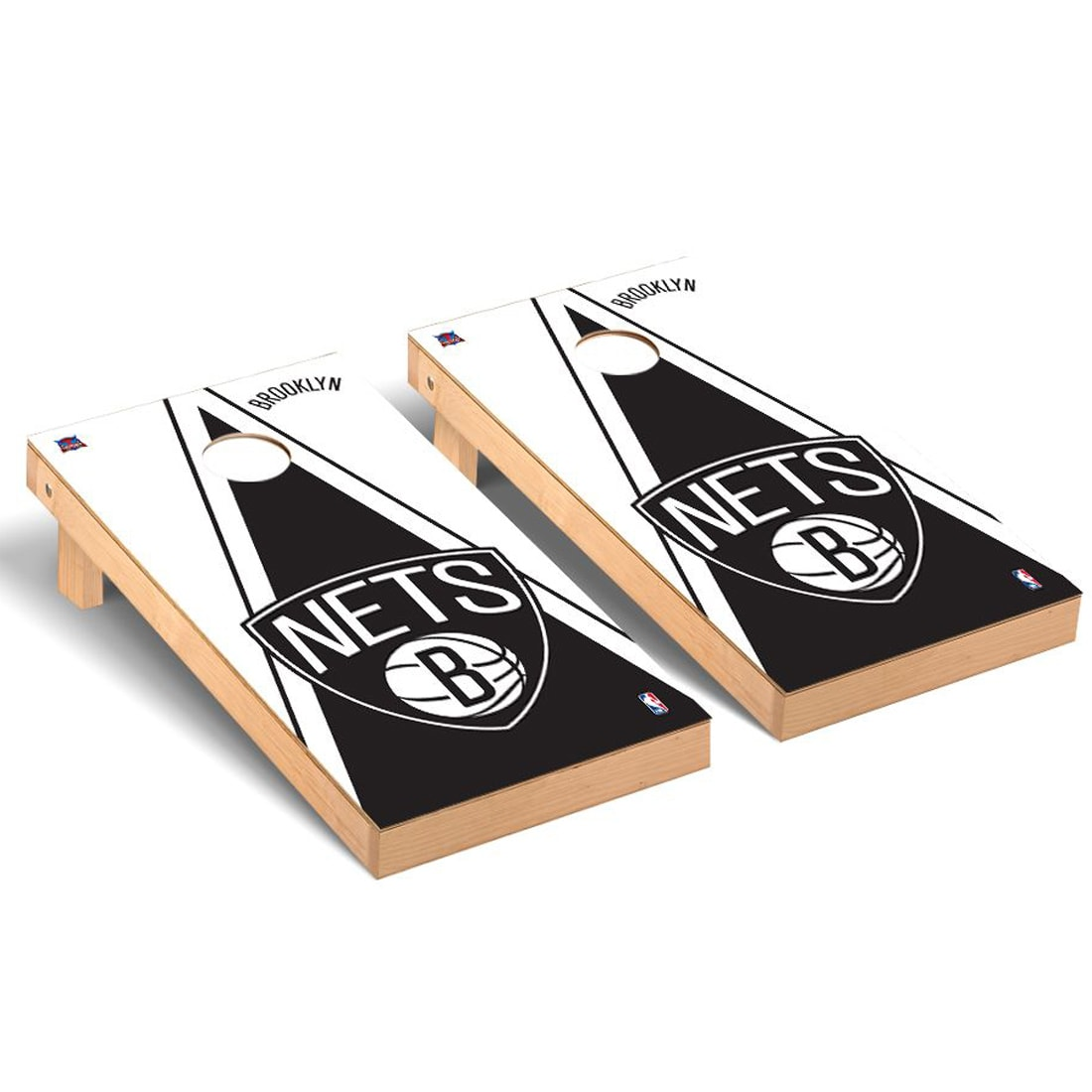 Brooklyn Nets 2' x 4' Triangle Museum Cornhole Board Tailgate Toss Set