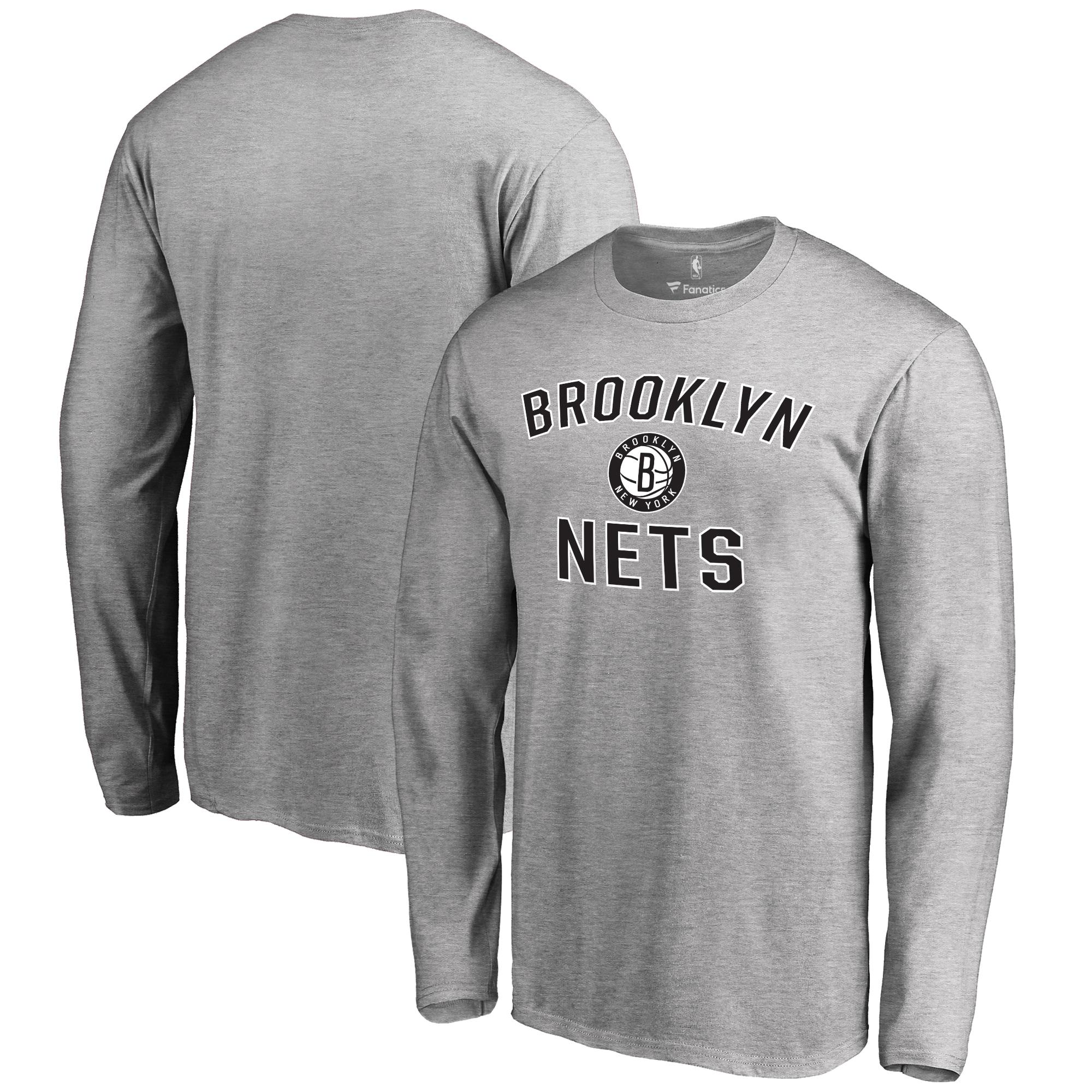 Brooklyn Nets Big & Tall Victory Arch Long Sleeve T-Shirt - Ash