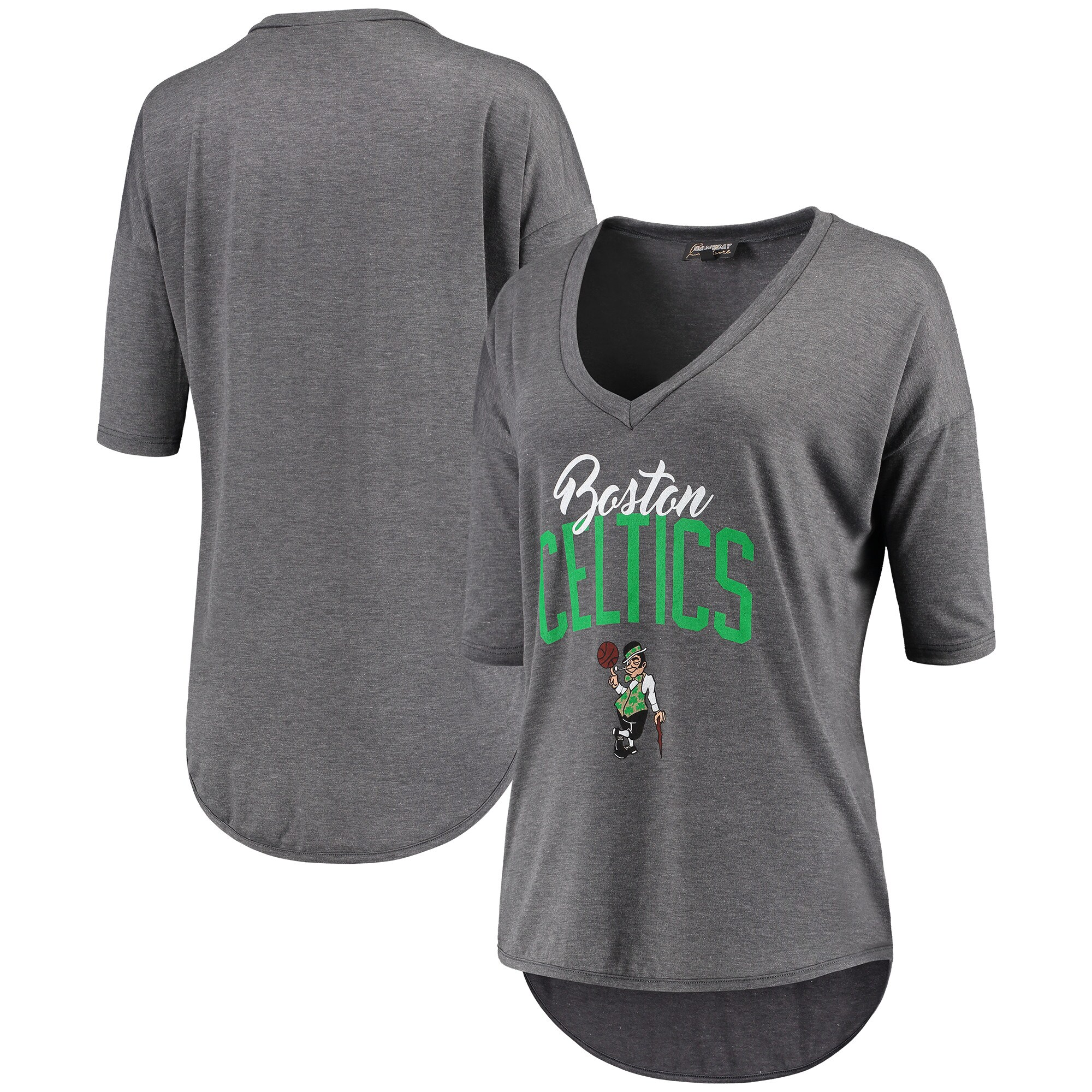 Boston Celtics Women's Deep V-Neck Tri-Blend Half-Sleeve T-Shirt - Gray