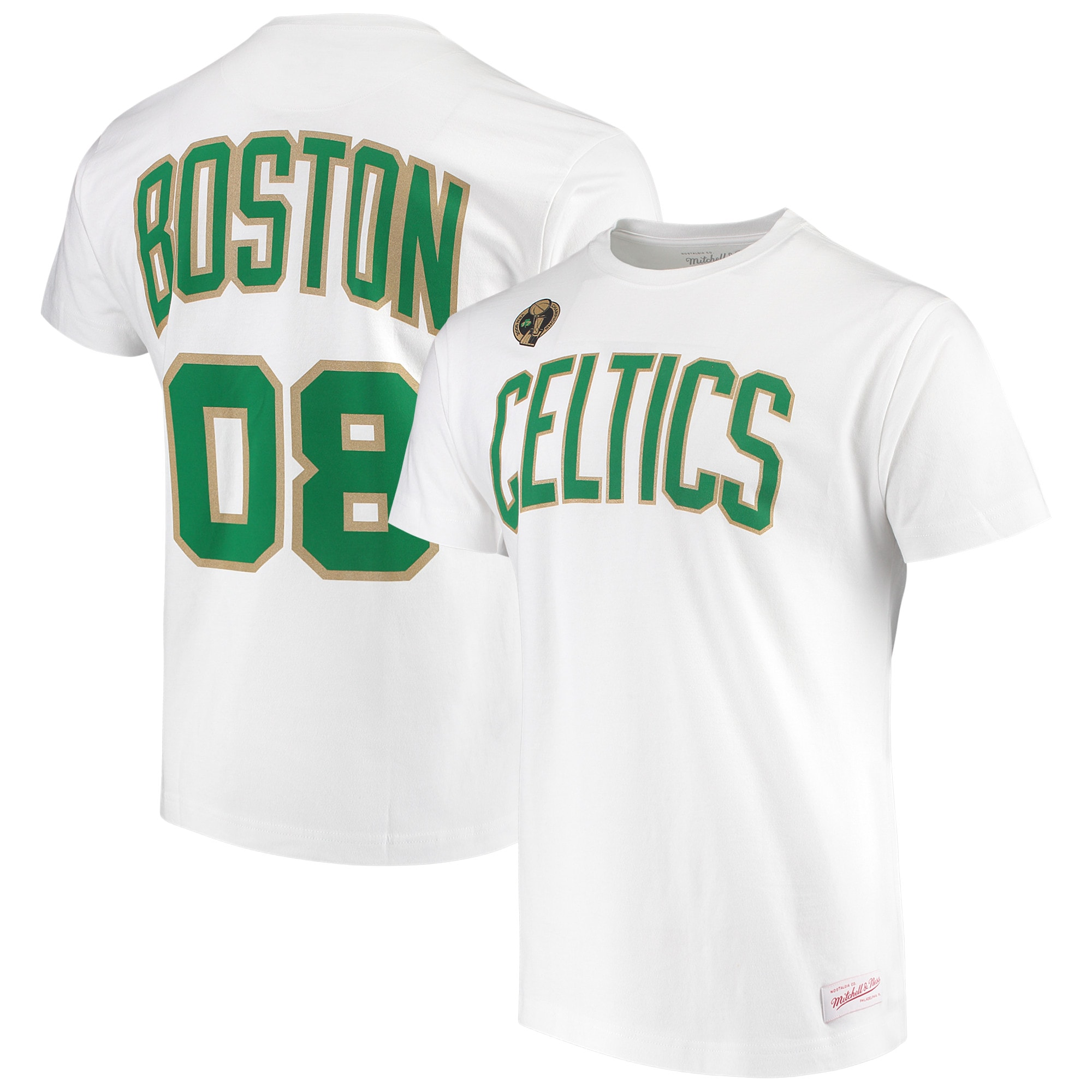 Boston Celtics Mitchell & Ness Hardwood Classics '08 NBA Champs Metallic Gold T-Shirt - White