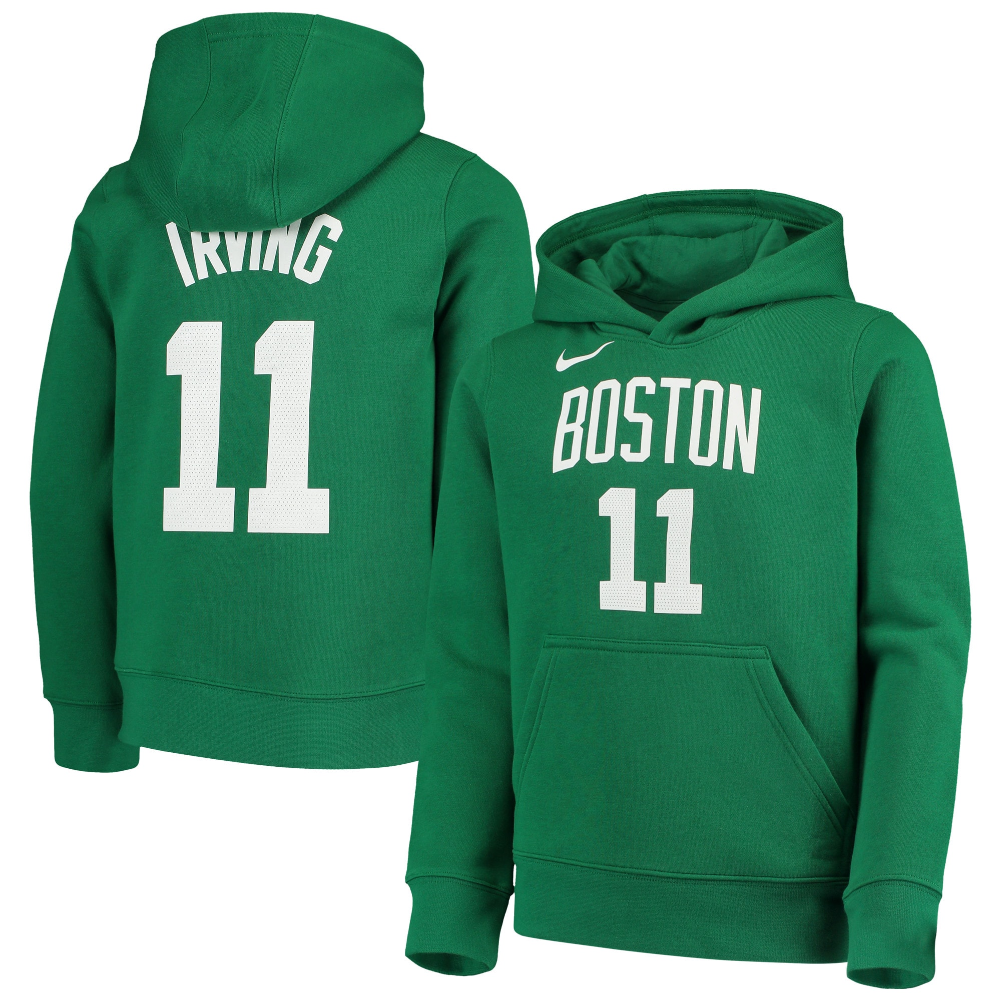 Kyrie Irving Boston Celtics Nike Youth Logo Name & Number Pullover Hoodie - Kelly Green