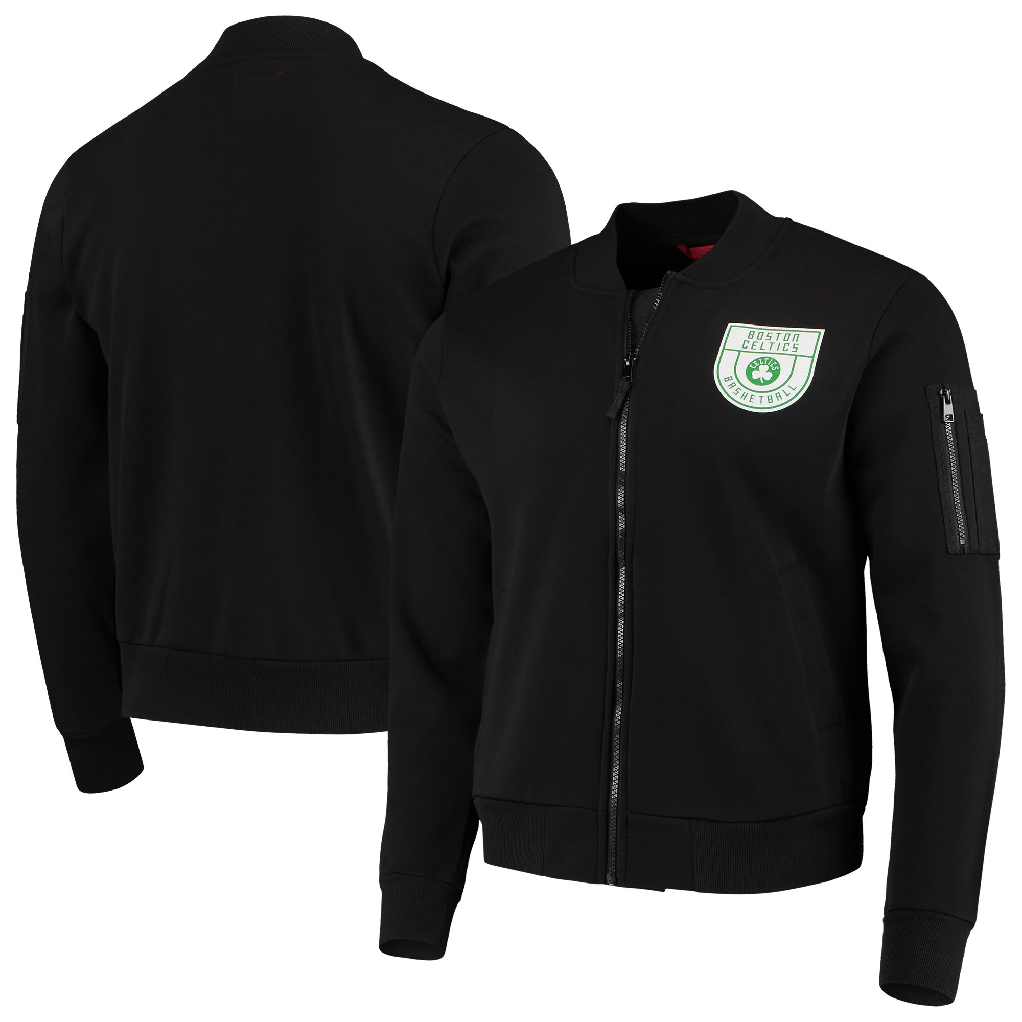Boston Celtics Sportiqe Maverick Fleece Bomber Full-Zip Jacket - Black
