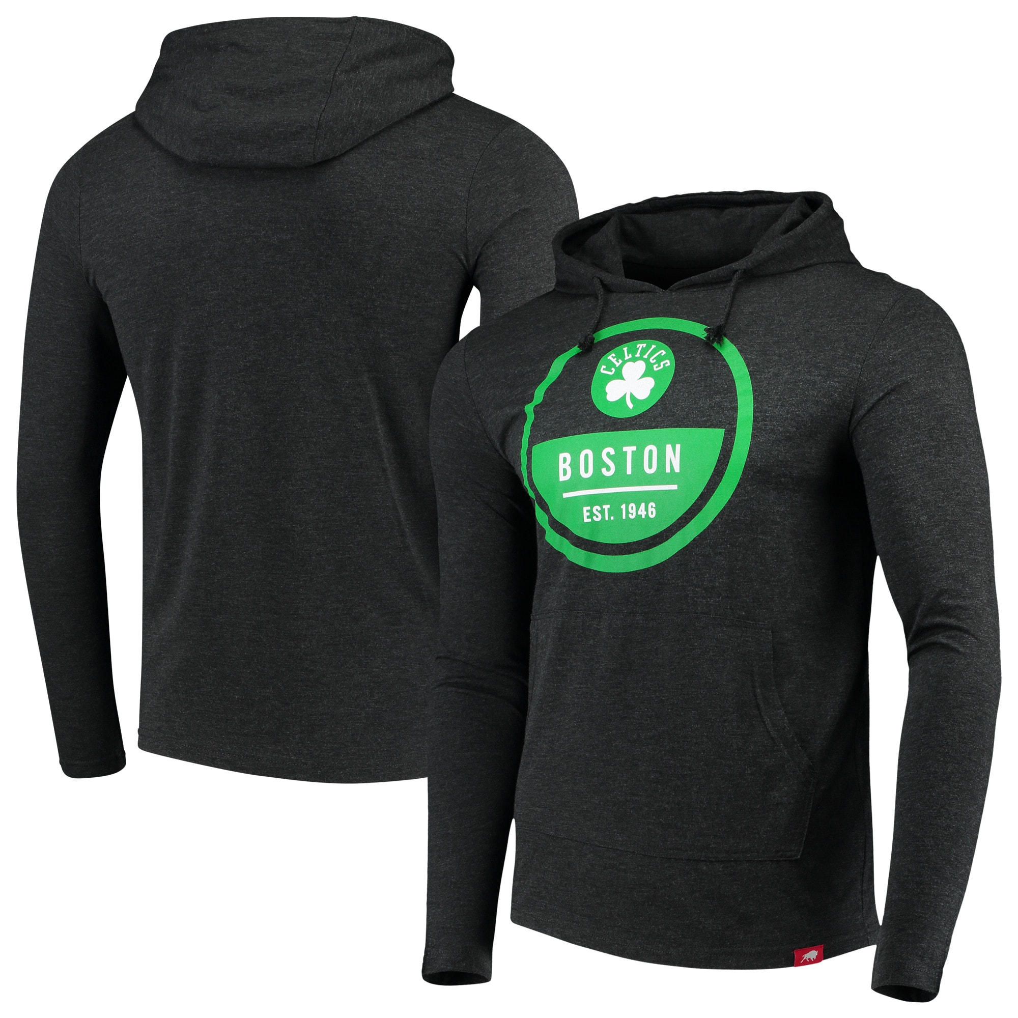 Boston Celtics Sportiqe Rowan Tri-Blend Jersey Hoodie - Heathered Black