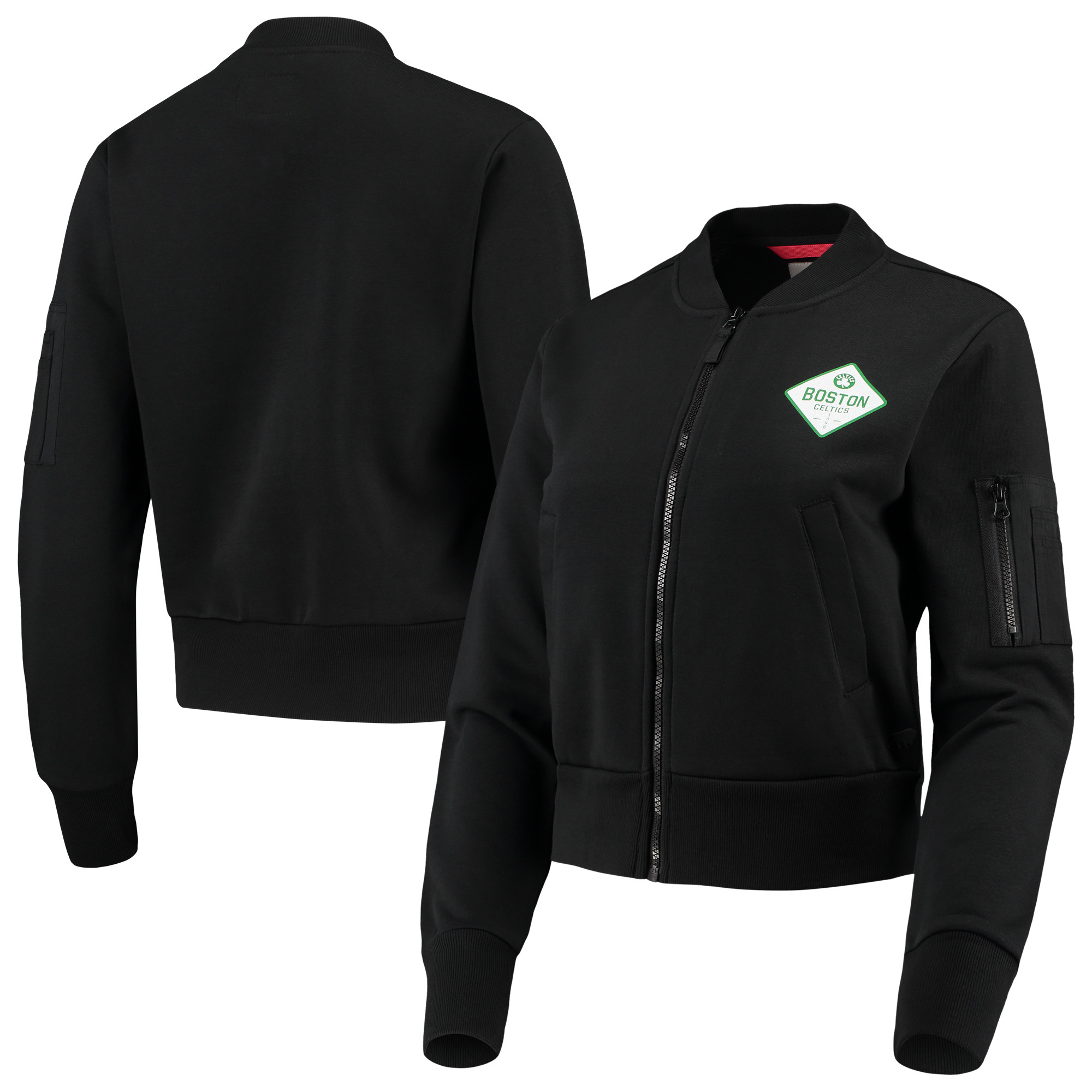 Boston Celtics Sportiqe Women's Ice Bomber Full-Zip Jacket - Black