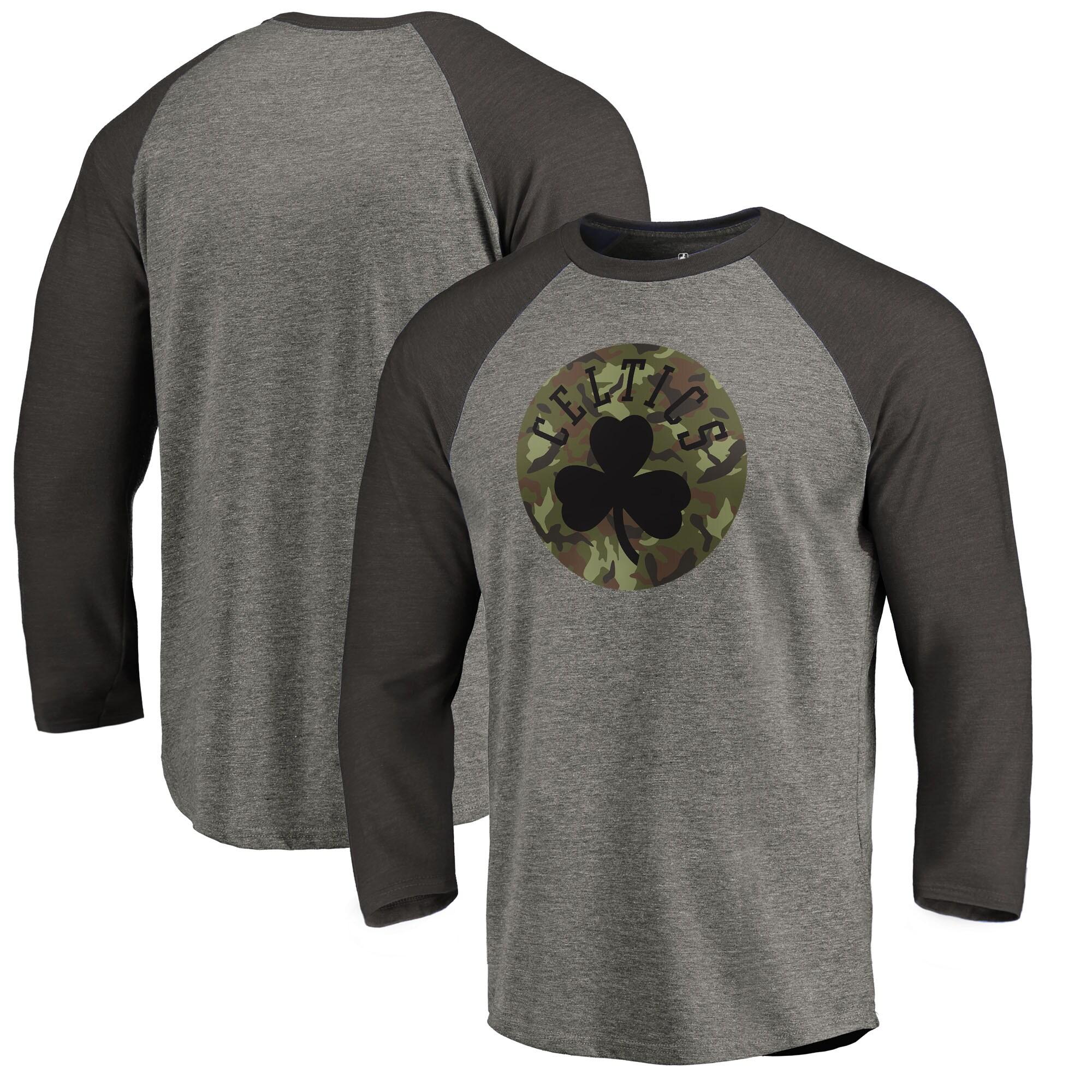 Boston Celtics Fanatics Branded Camo Collection Prestige Raglan 3/4-Sleeve T-Shirt - Heathered Gray