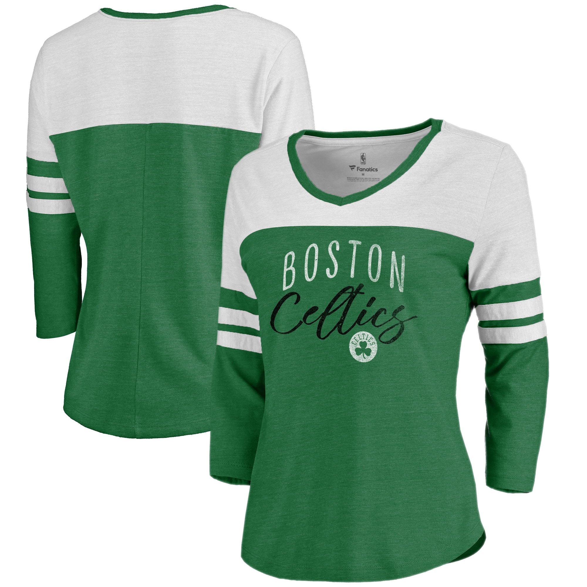 Boston Celtics Fanatics Branded Women's Graceful 3/4-Sleeve Raglan T-Shirt - Heathered Kelly Green