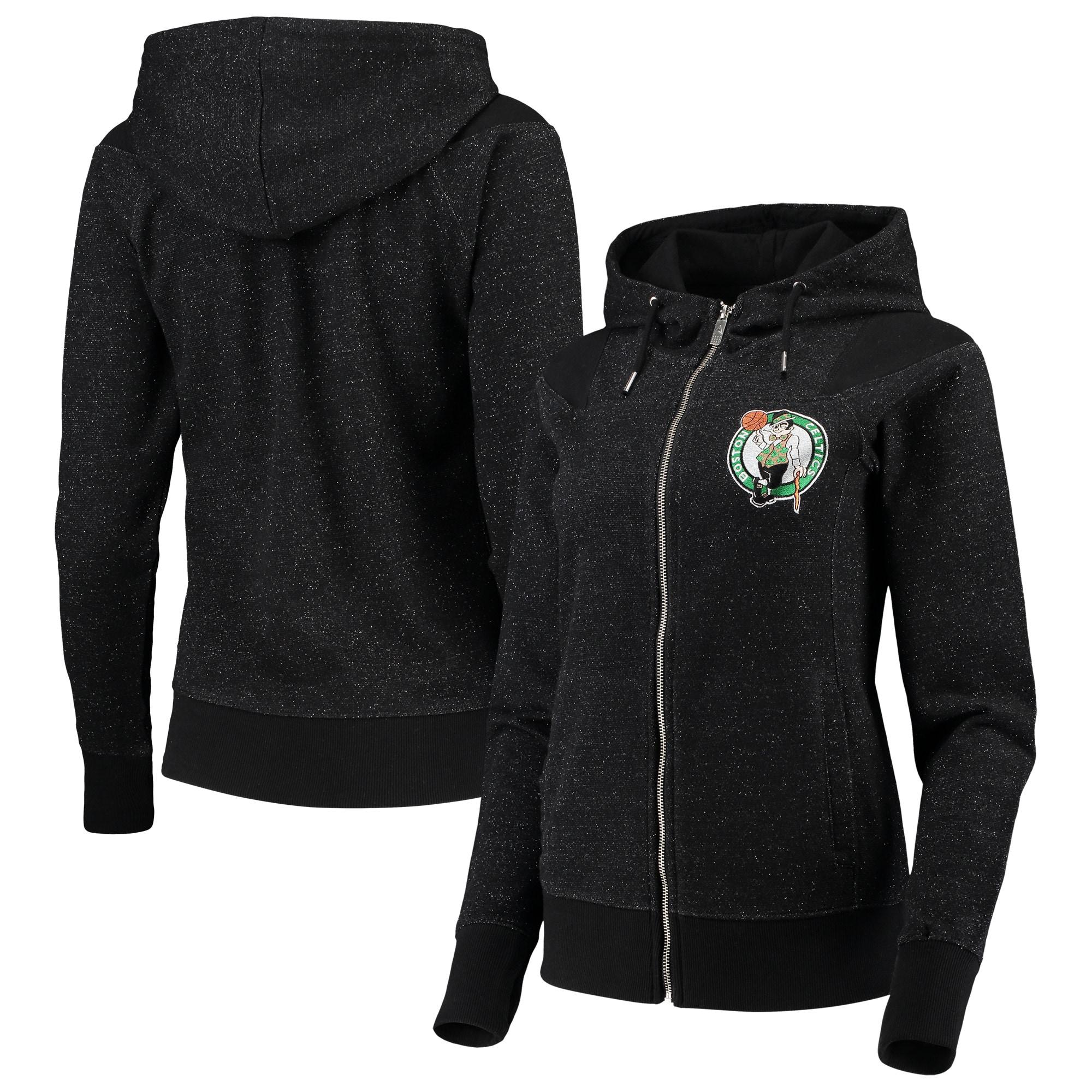 Boston Celtics Antigua Women's Lineup Tri-Blend French Terry Full-Zip Hoodie - Heathered Black