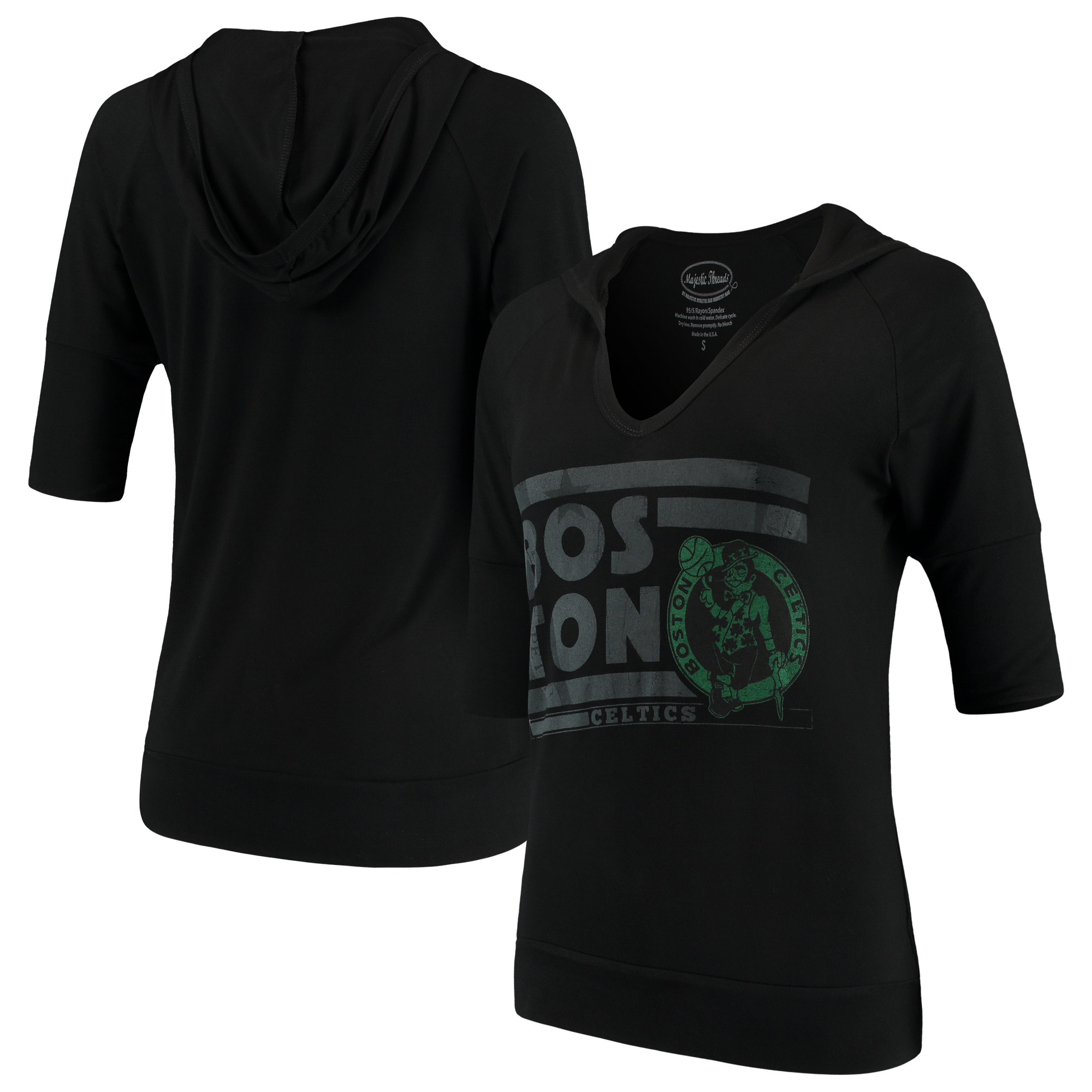 Boston Celtics Majestic Threads Women's City State Elbow Sleeve V-Neck Hooded Pullover Top - Black