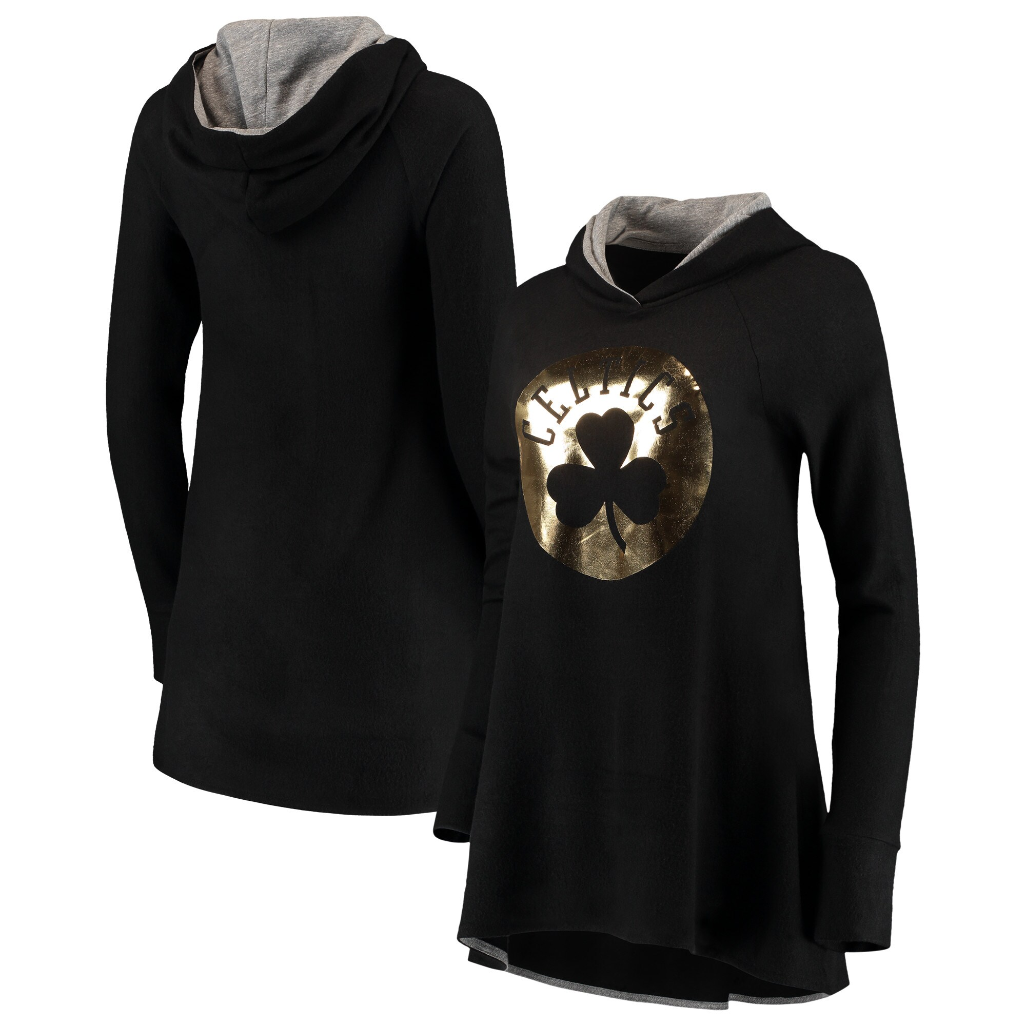 Boston Celtics Majestic Threads Women's Gold Foil Brushed Hacci A-Line Pullover Hoodie - Black