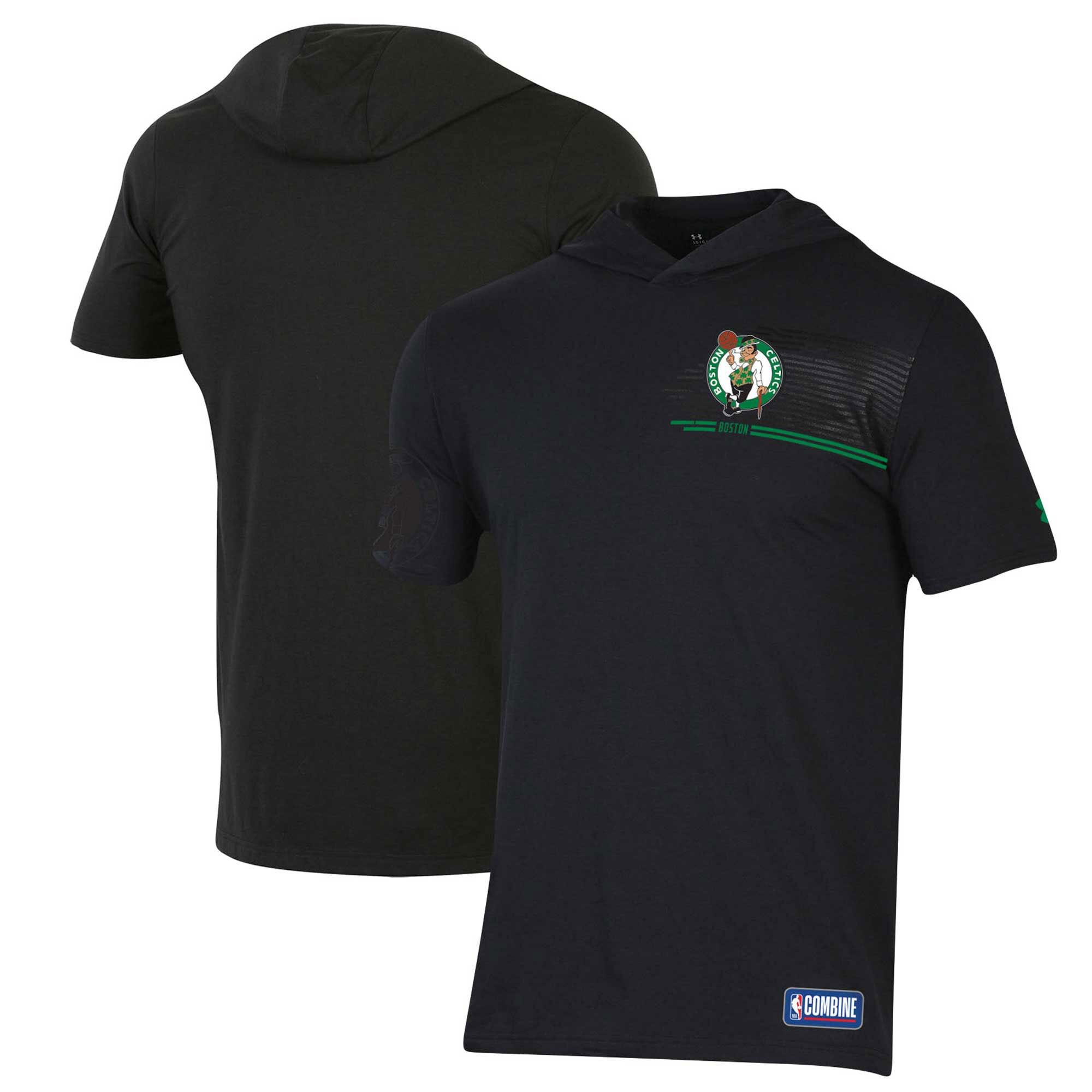 Boston Celtics Under Armour Combine Authentic Baseline Hoodie Performance T-Shirt - Black