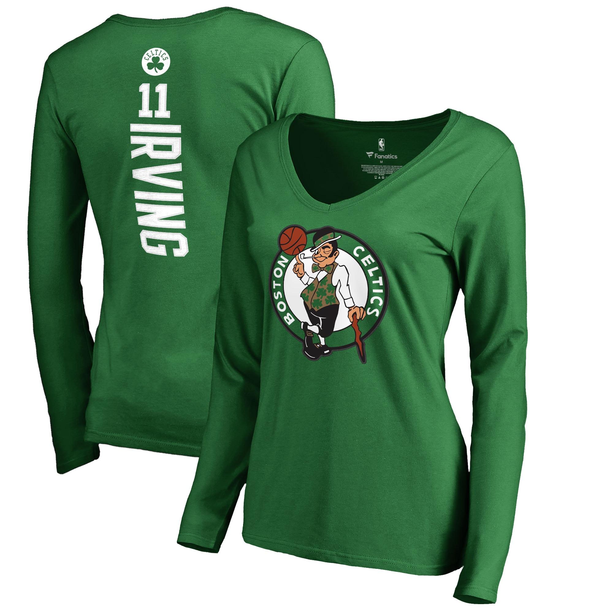 Kyrie Irving Boston Celtics Fanatics Branded Women's Backer Name & Number Long Sleeve V-Neck T-Shirt - Kelly Green