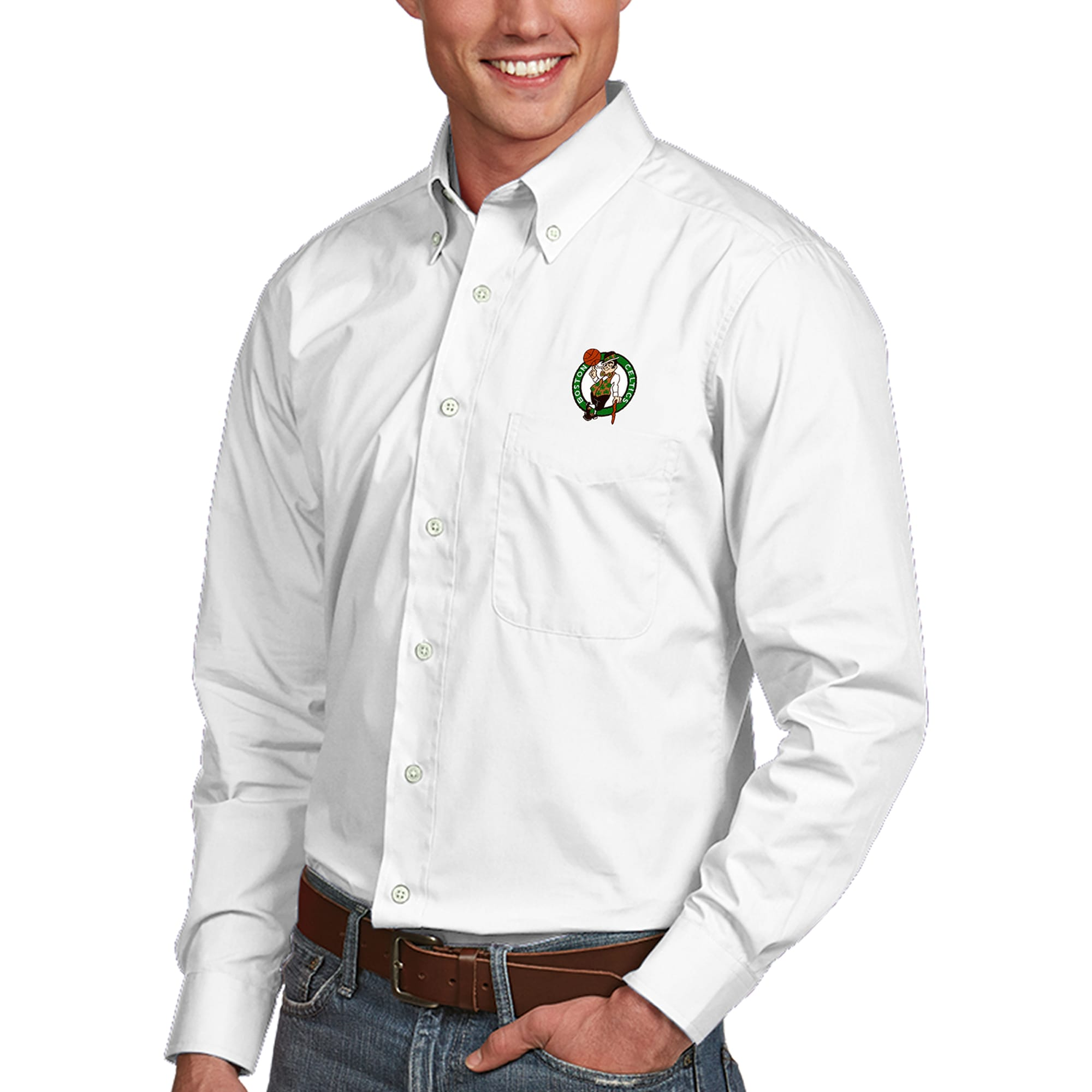 Boston Celtics Antigua Dynasty Button-Down Long Sleeve Shirt - White