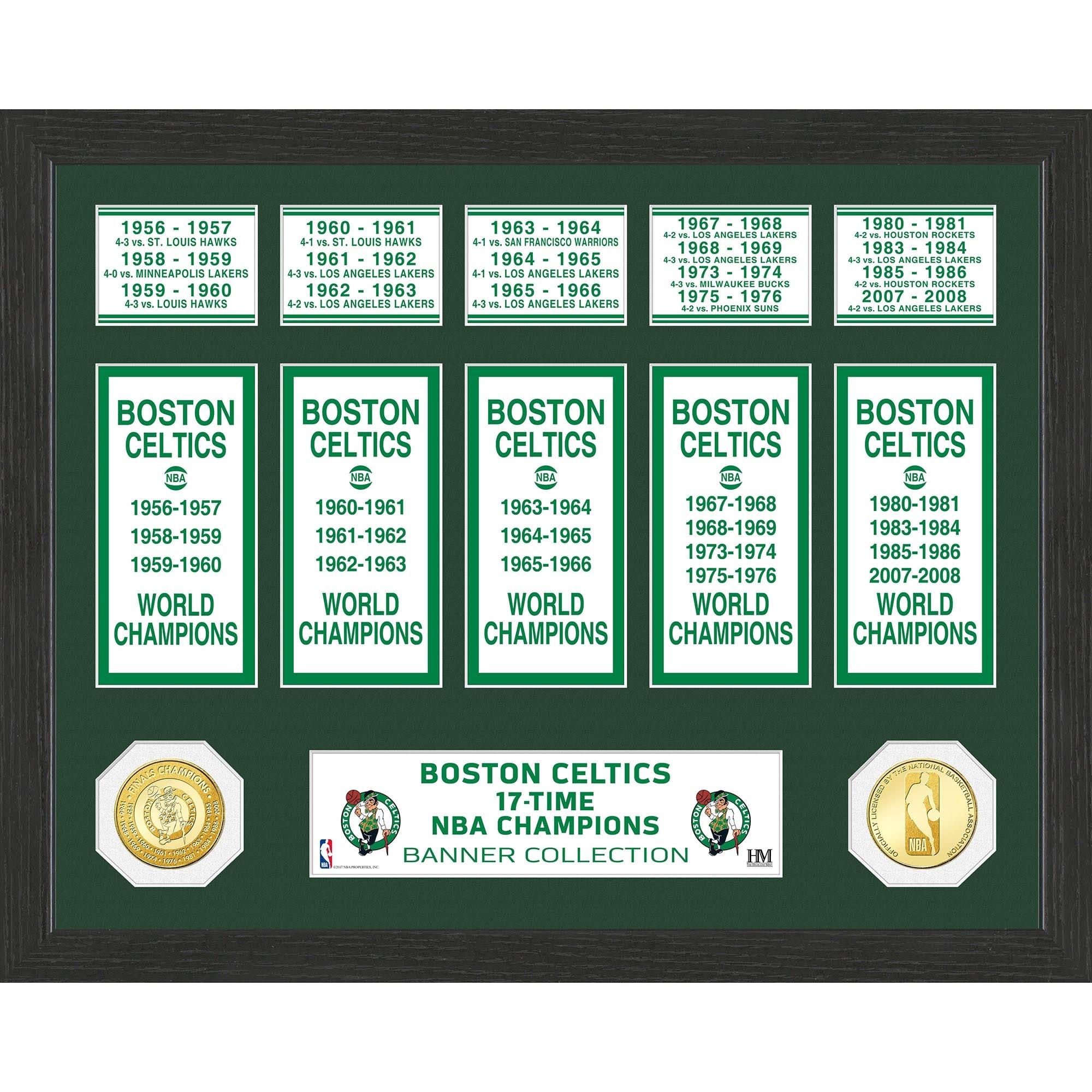 "Boston Celtics Highland Mint 15"" x 12"" Banner Bronze Coin Photo Mint"