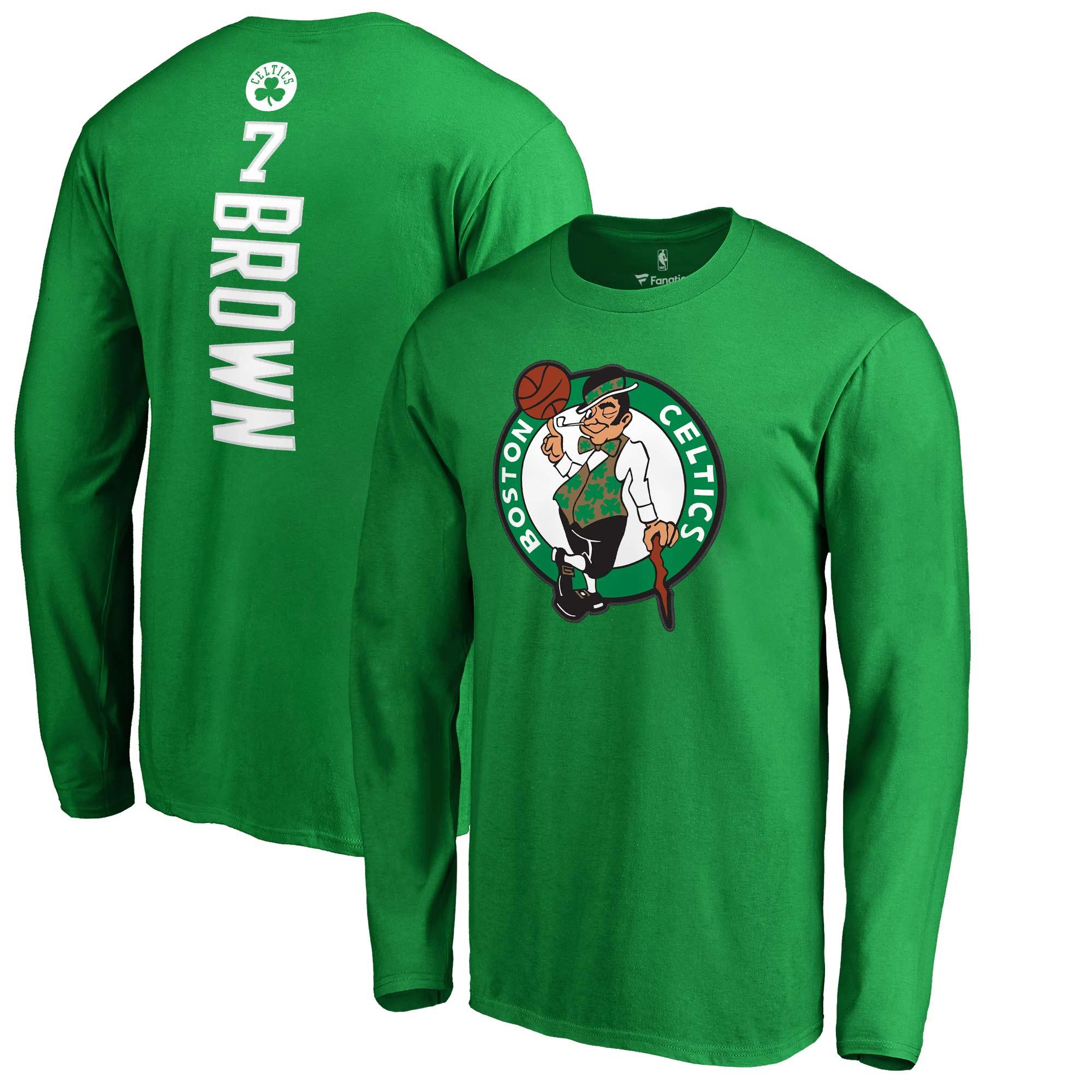 Jaylen Brown Boston Celtics Fanatics Branded Backer Name & Number Long Sleeve T-Shirt - Kelly Green