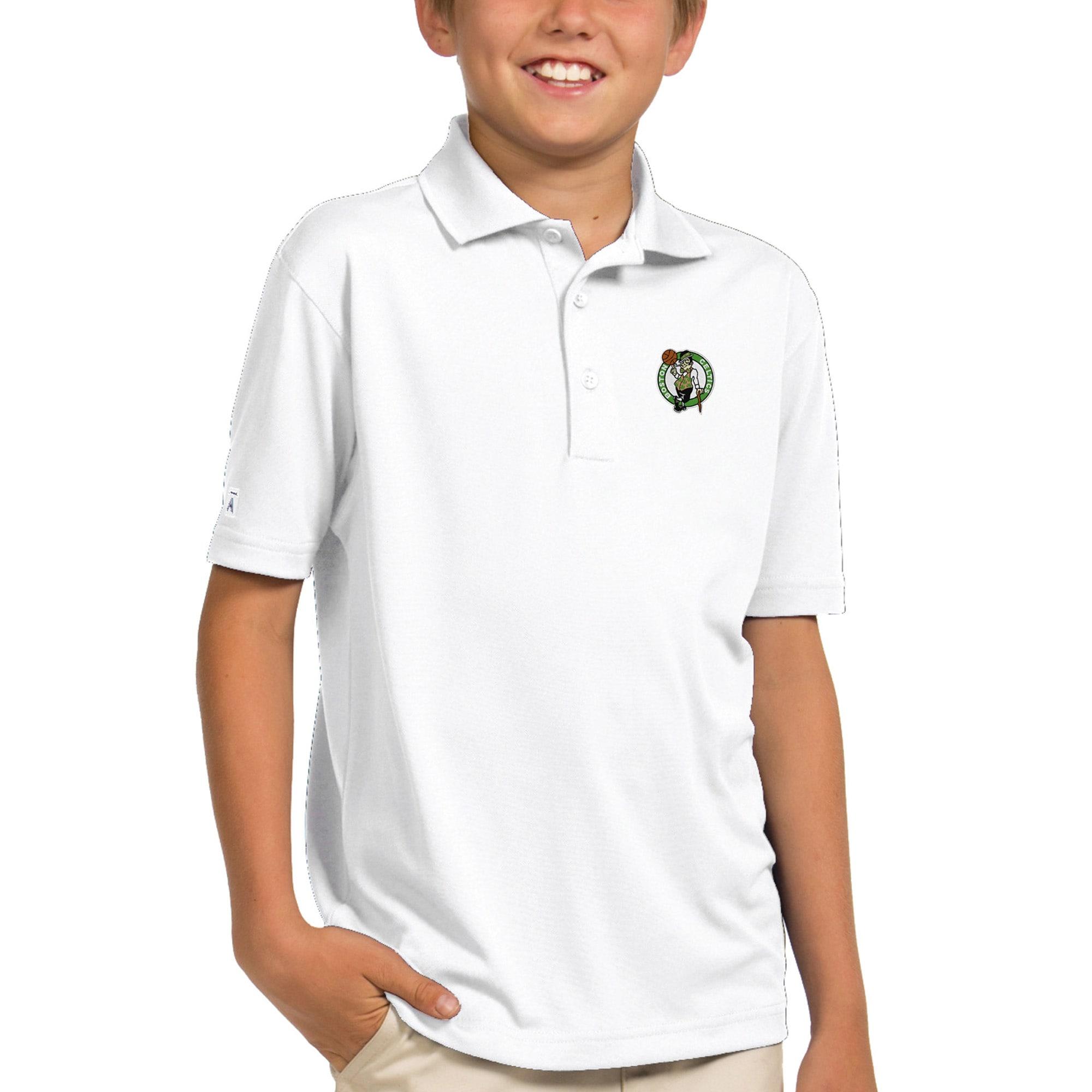 Boston Celtics Antigua Youth Pique Desert Dry X-tra Lite Polo - White