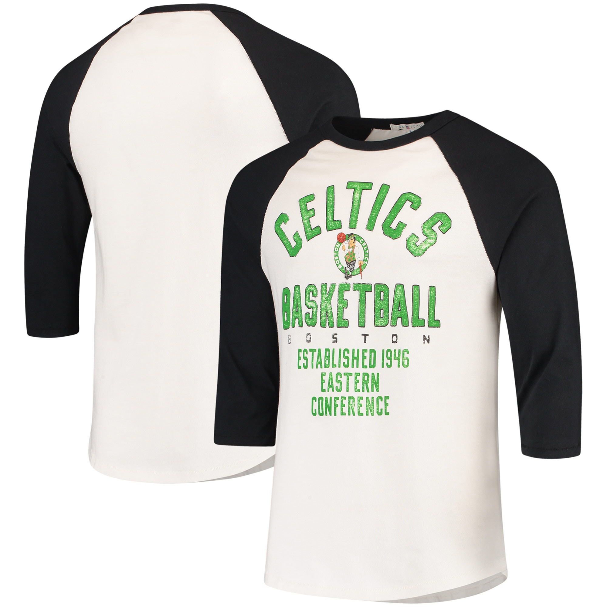 Boston Celtics Junk Food All-American Raglan 3/4-Sleeve T-Shirt - White/Black