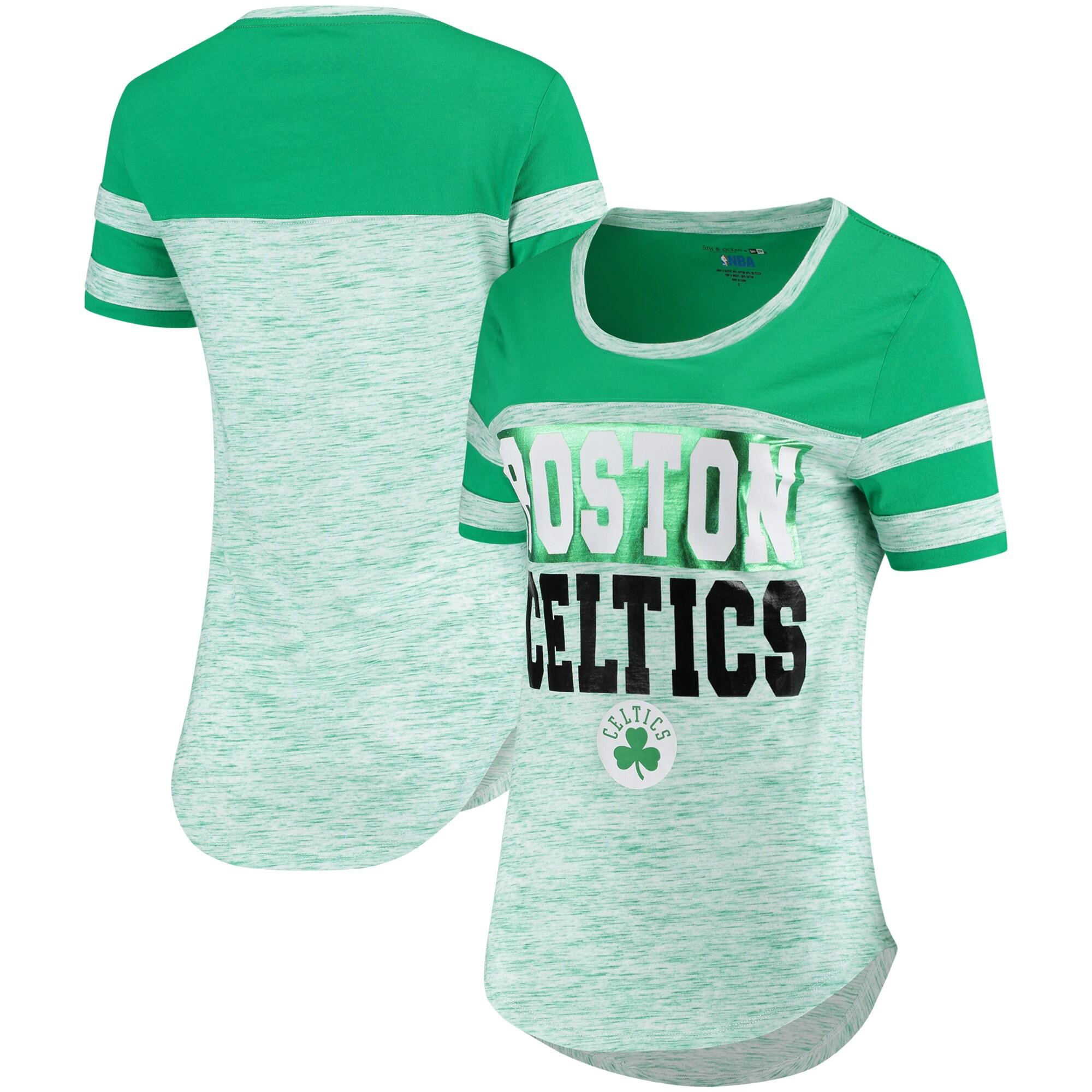 Boston Celtics New Era Women's Space Dye Sleeve Stripe T-Shirt - Heathered Kelly Green