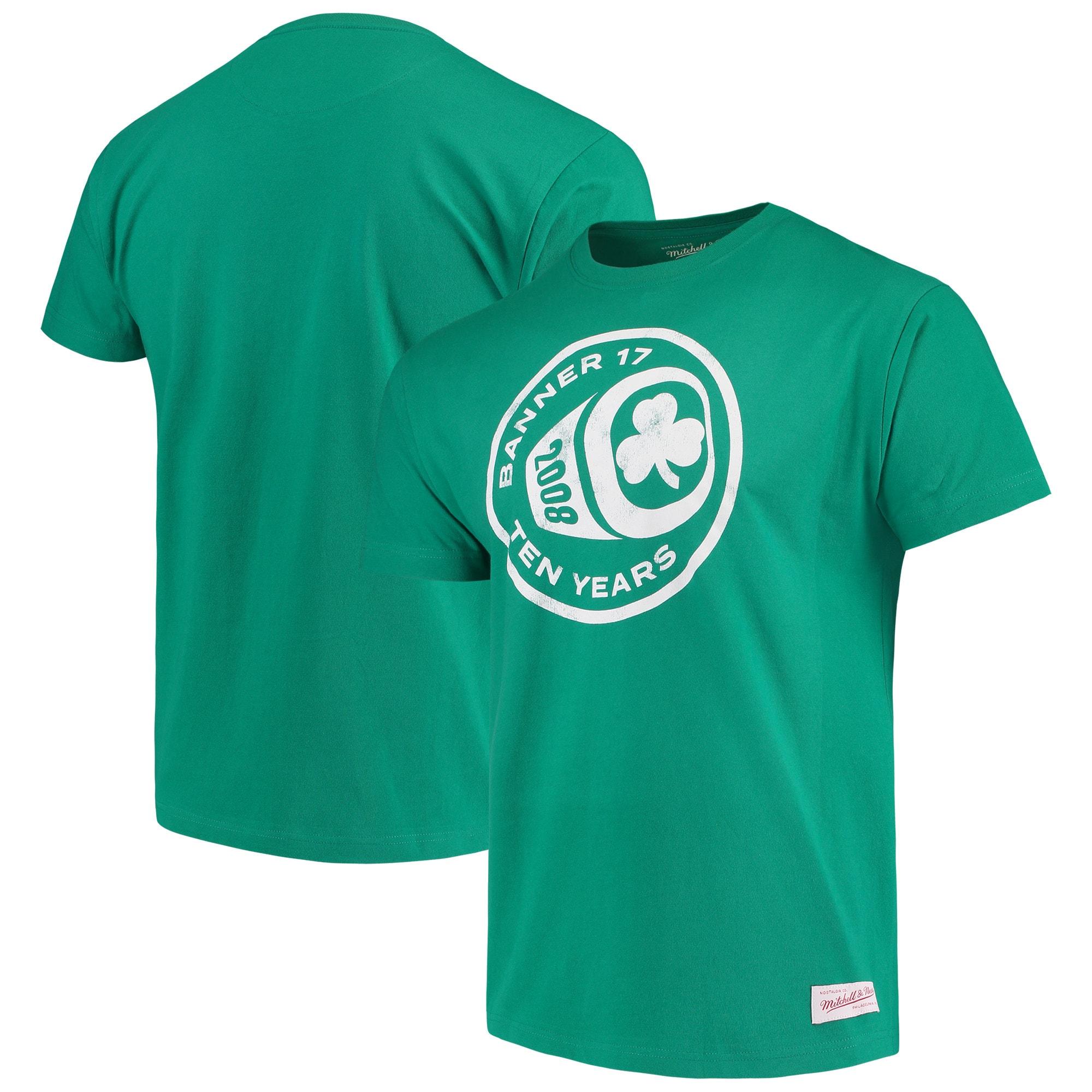 Boston Celtics Mitchell & Ness Banner 17 Tenth Anniversary Ring T-Shirt - Kelly Green