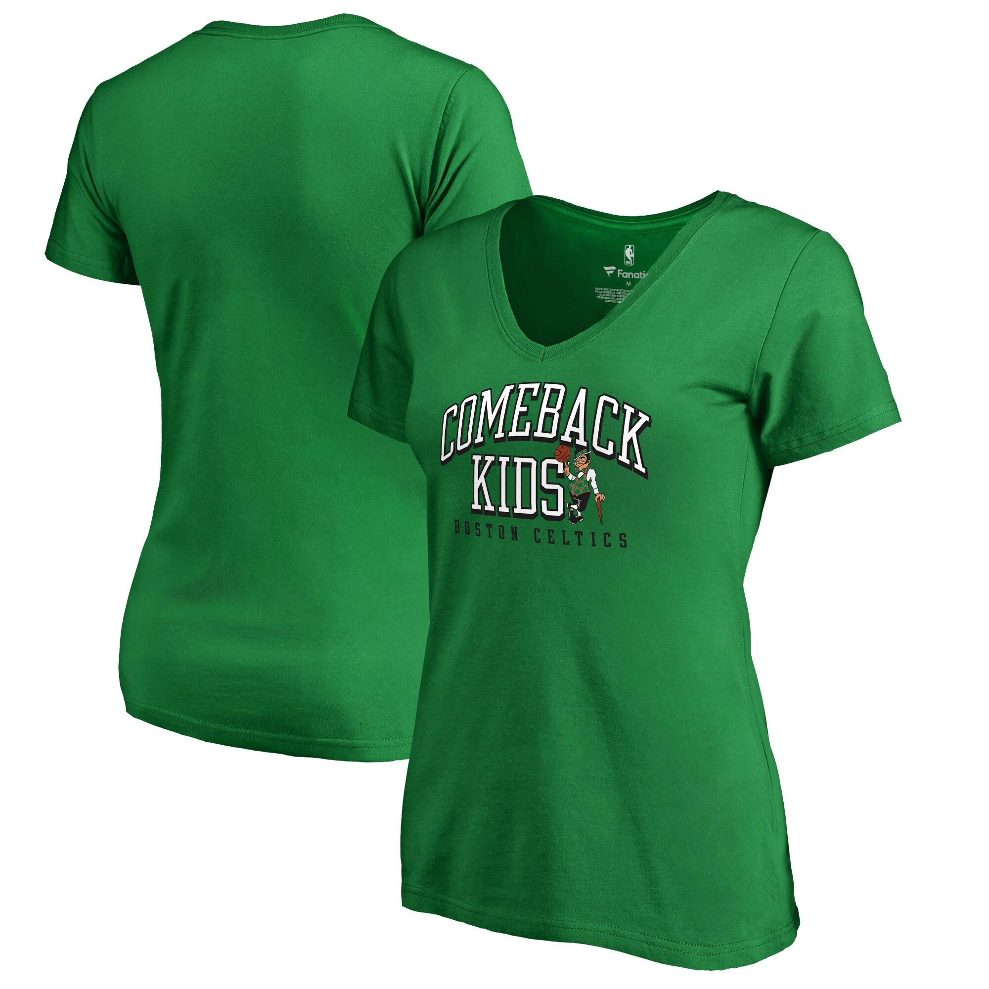 Boston Celtics Fanatics Branded Women's Comeback Kids V-Neck T-Shirt - Kelly Green