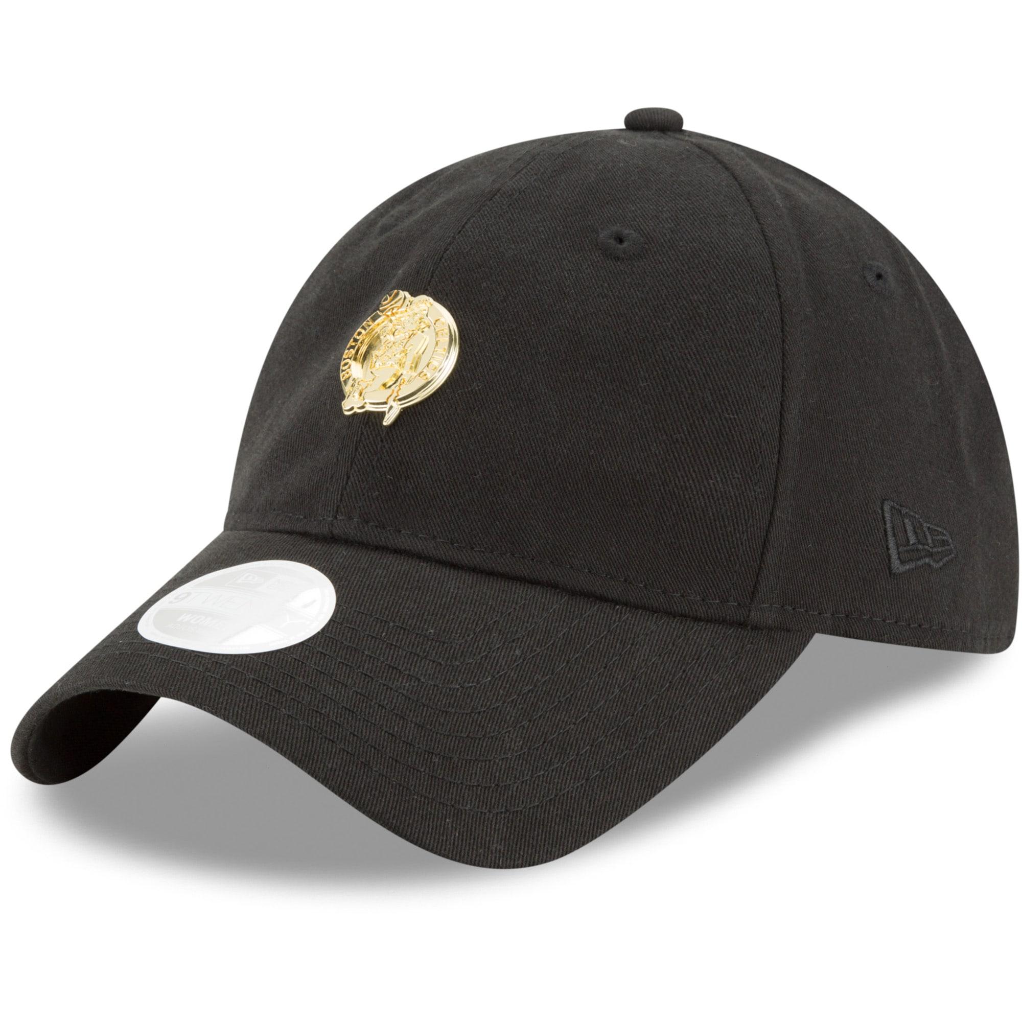 Boston Celtics New Era Women's Badge Slick Lightly Structured 9TWENTY Adjustable Hat - Black